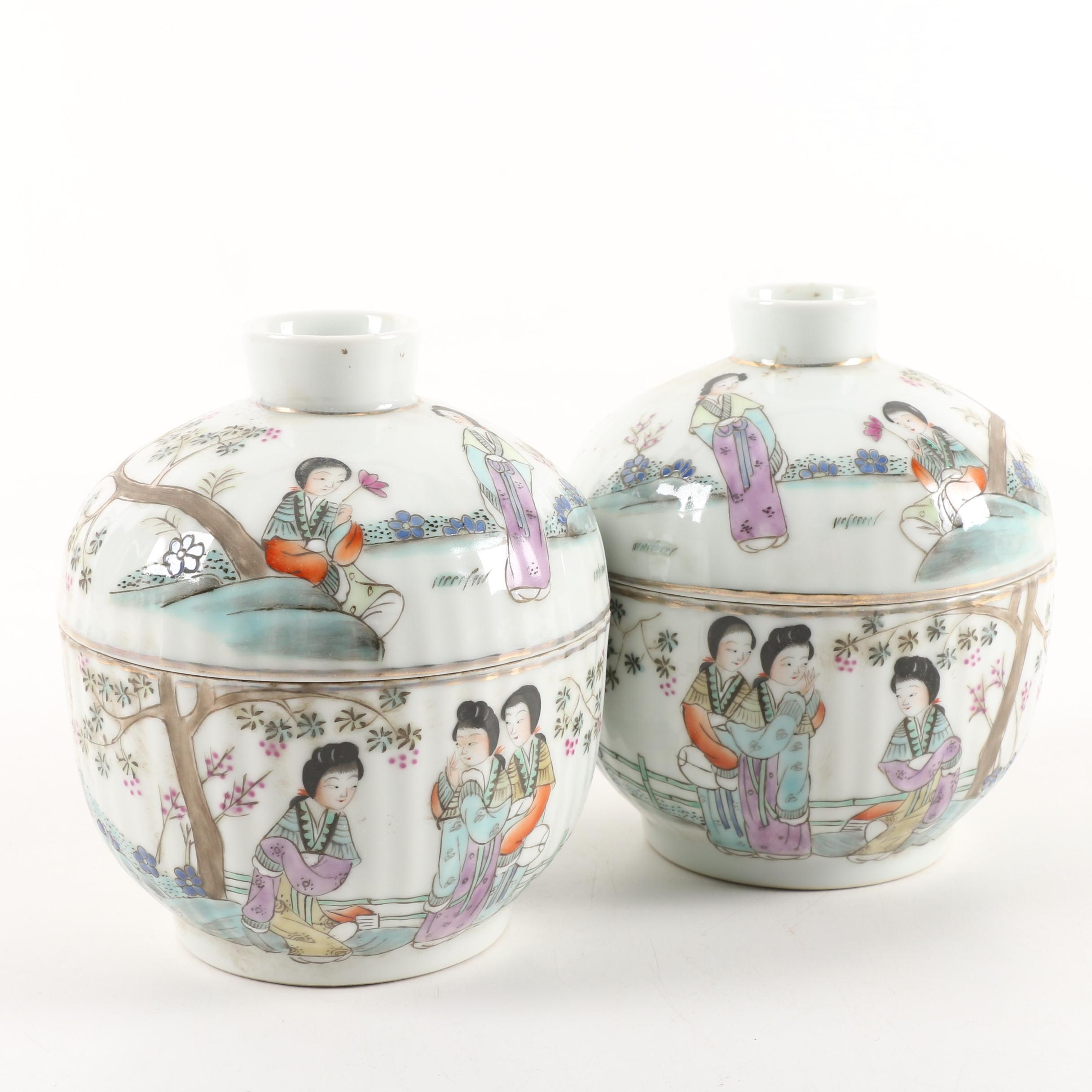 Chinese Tang Zizhen Hand-Painted Ceramic Rice Bowls with Lids
