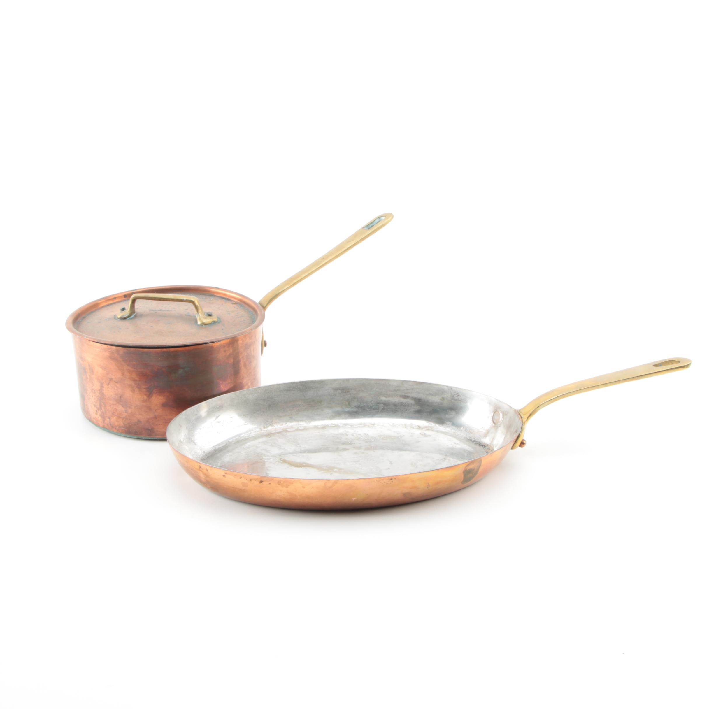 Pairing of French Bazar Francais Copper and Brass Cooking Pans