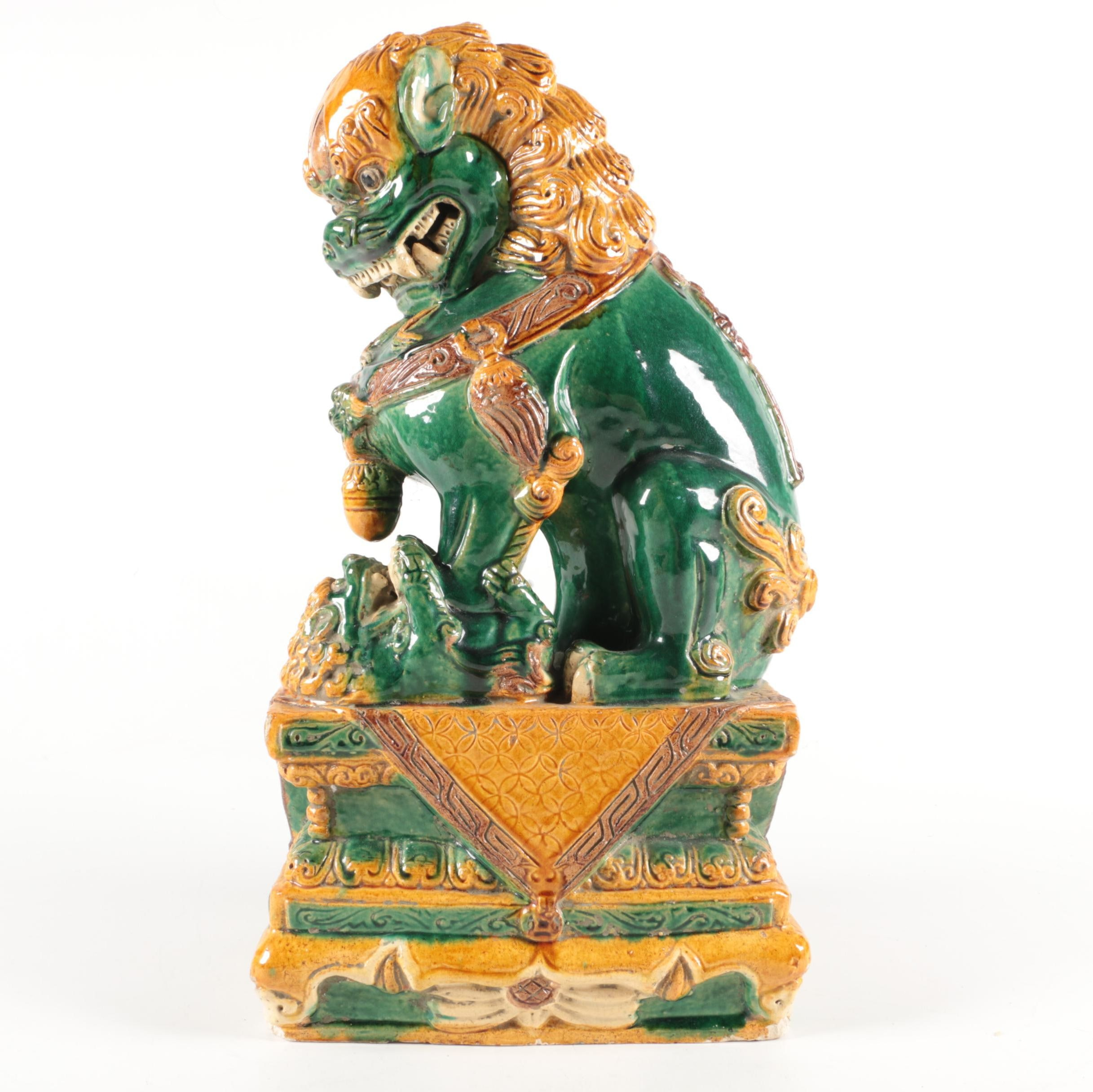 Chinoiserie Ceramic Figure of Green and Yellow Guardian Lion