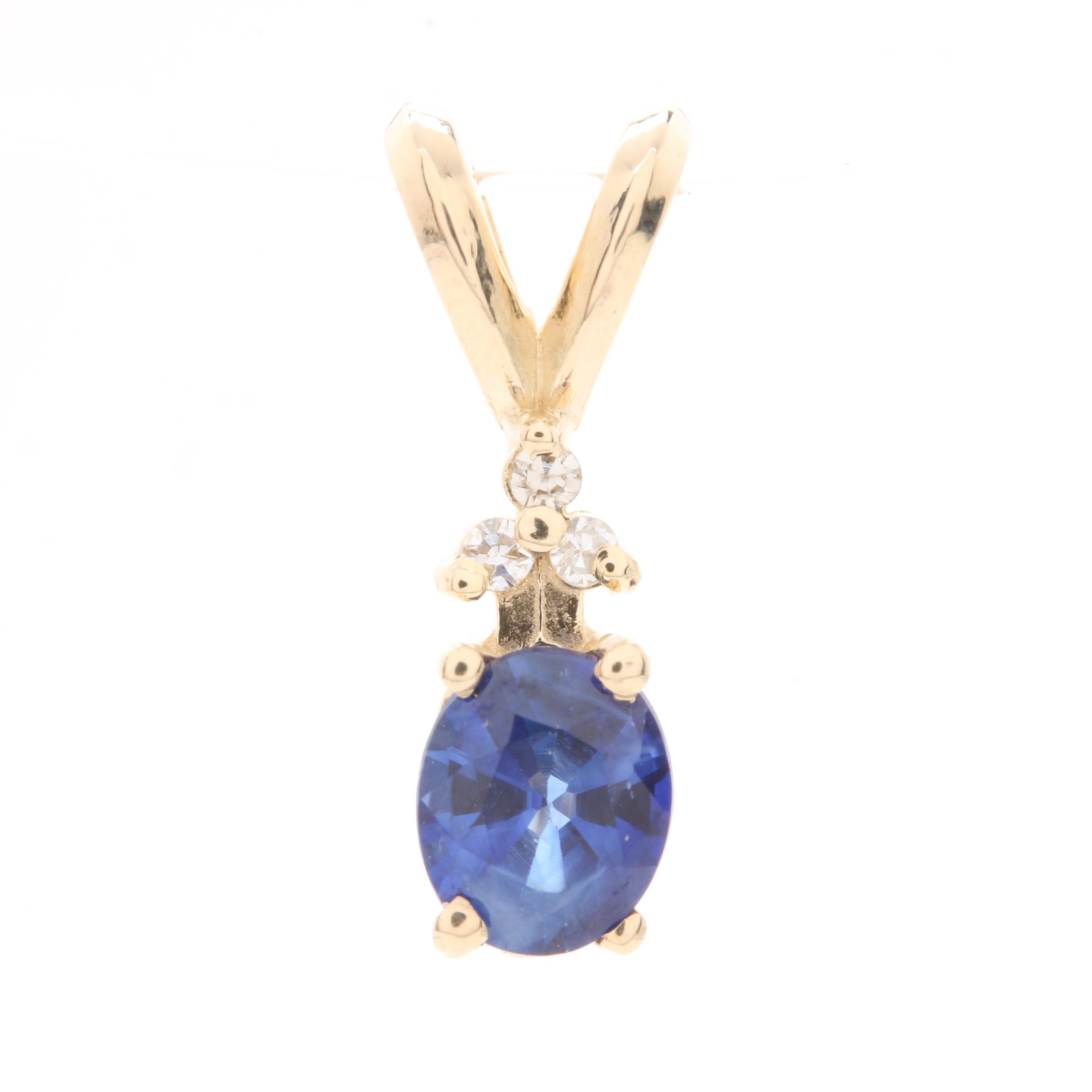14K Yellow Gold Sapphire Pendant with Diamond Accents