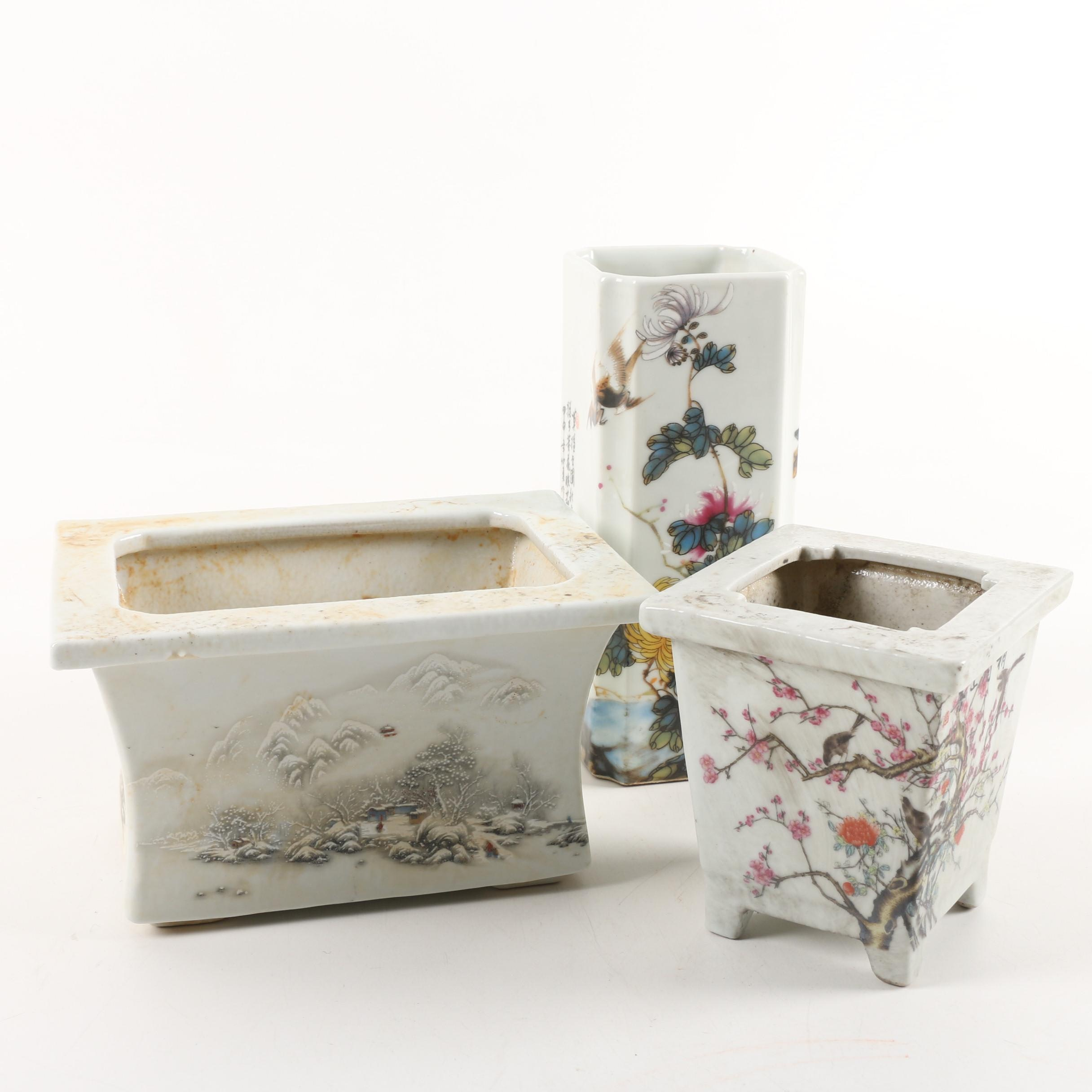 Chinese Ceramic Planters and Vase