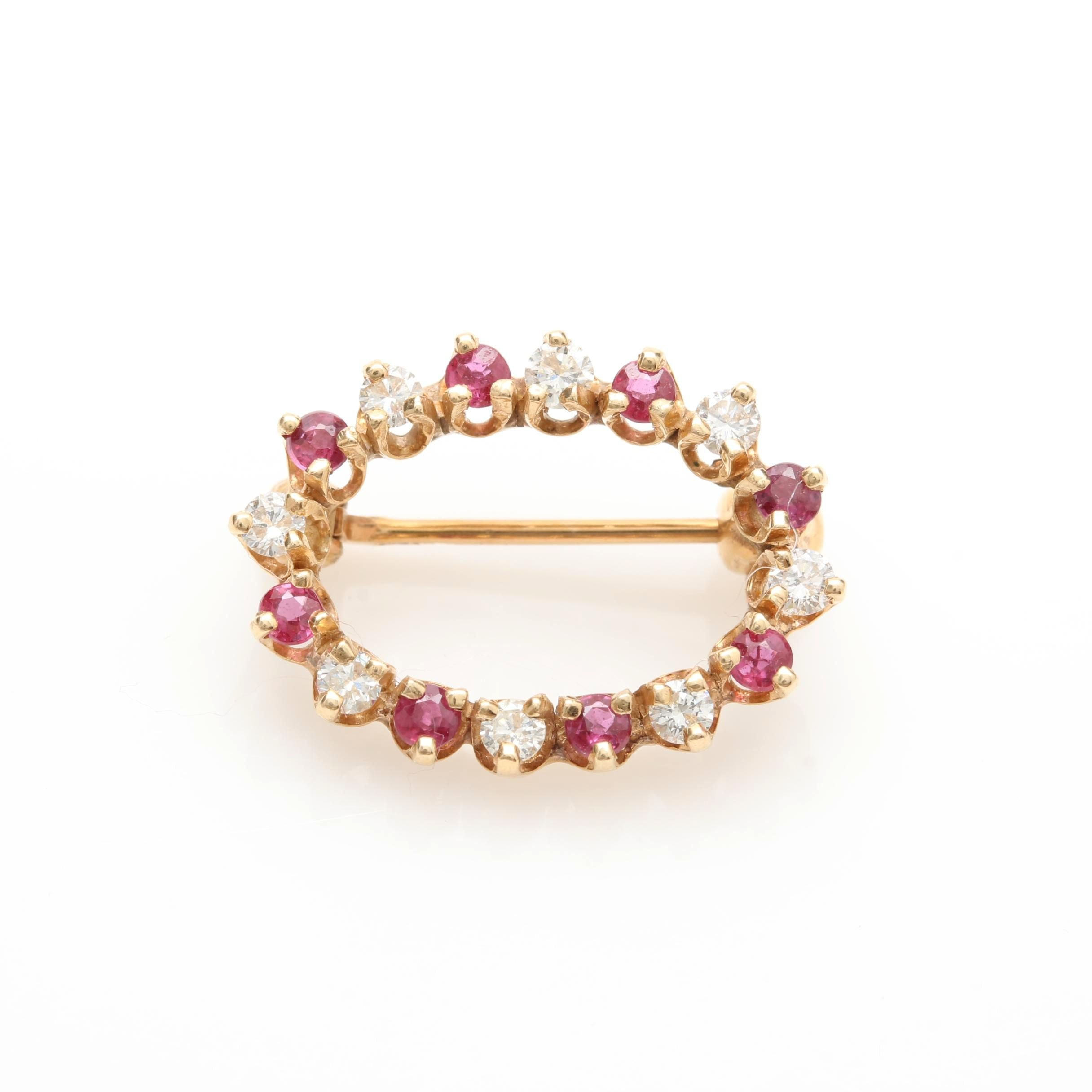 14K Yellow Gold Ruby and Diamond Brooch