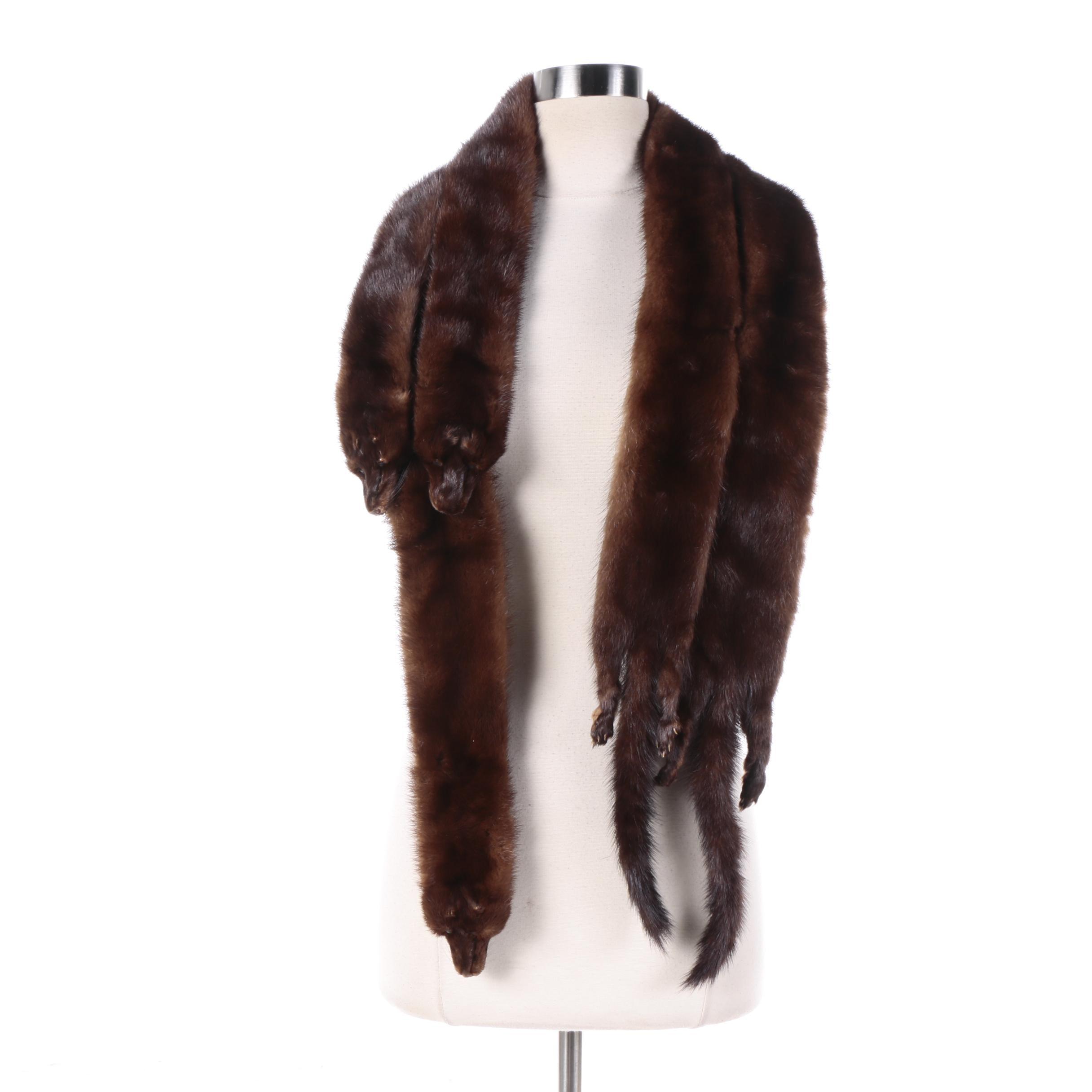 Vintage Five Pelt Mink Fur Stole