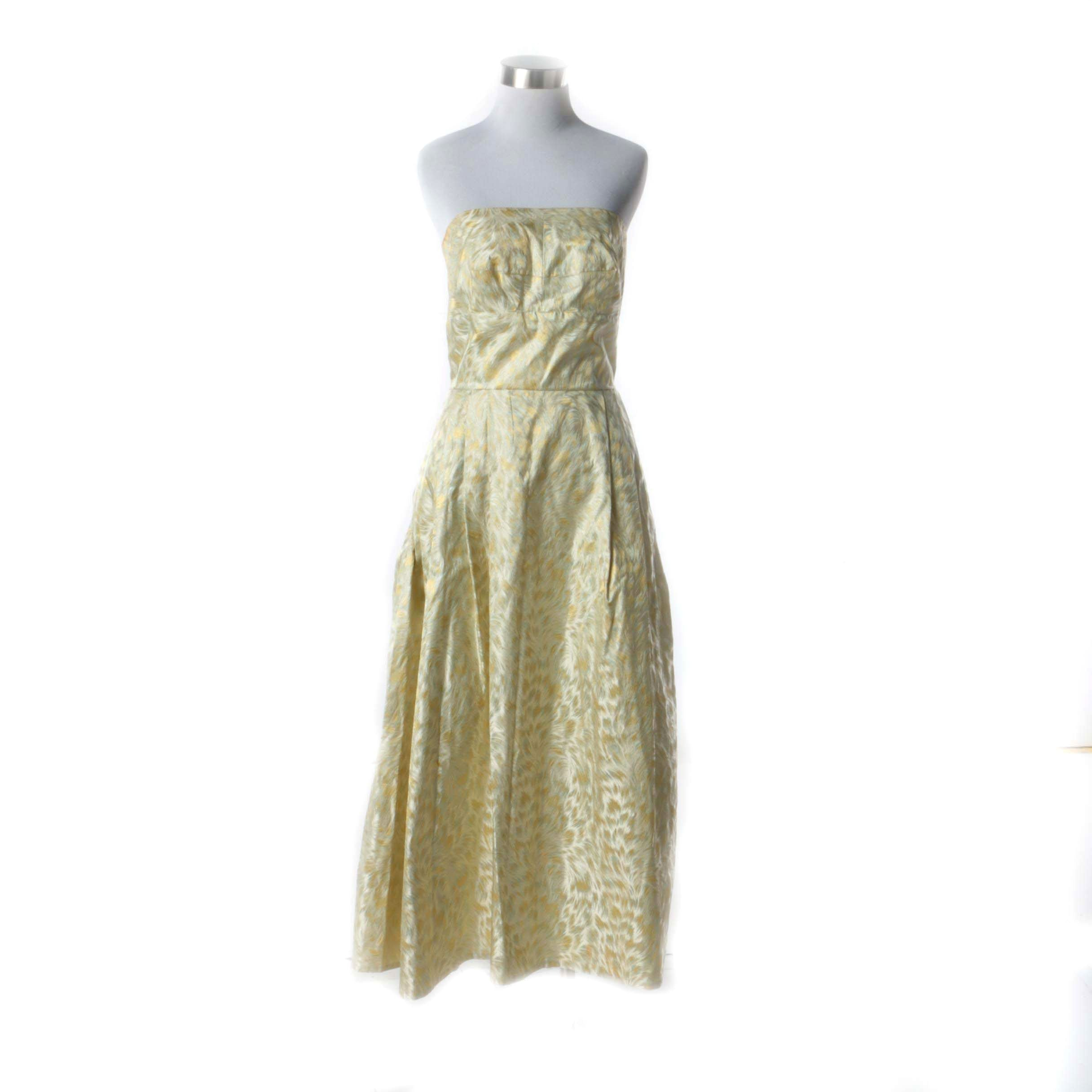 1950s Vintage Gold, Citrine and Green Silk Abstract Print Midi Cocktail Dress