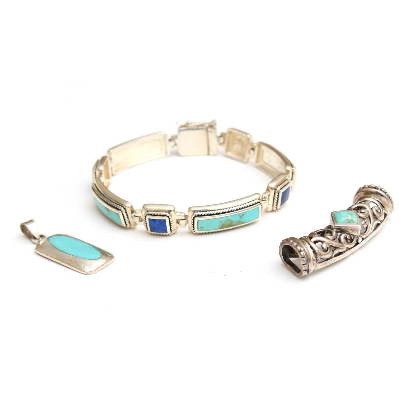 Sterling Silver Turquoise and Lapis Jewelry