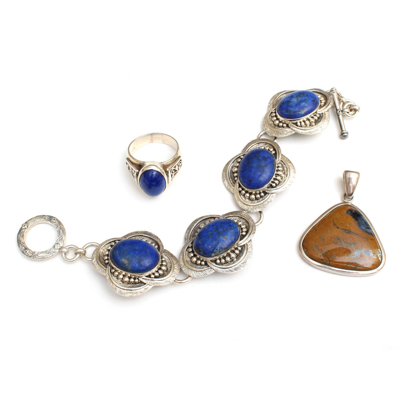 Sterling Silver, Lapis and Jasper Jewelry