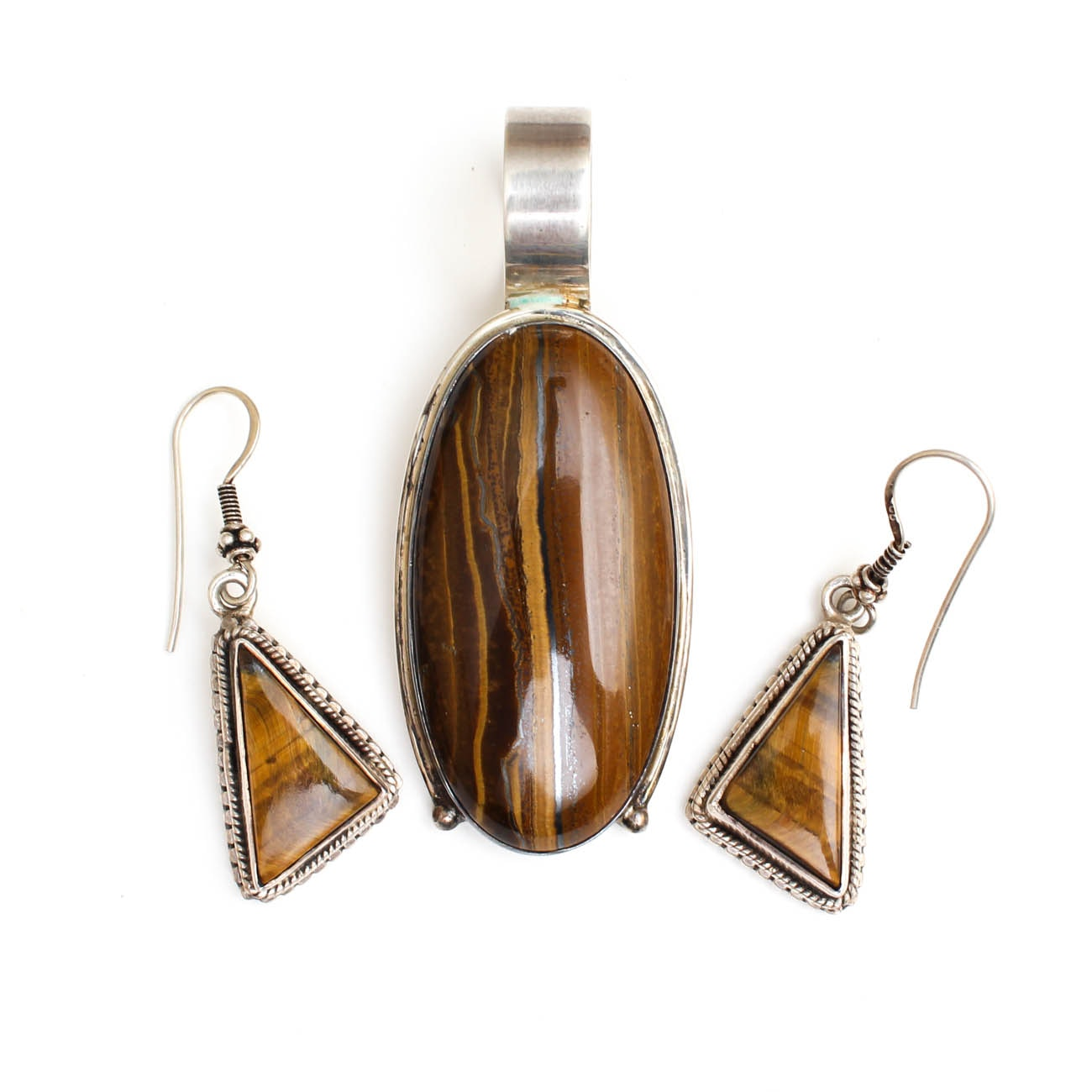 Sterling Silver Pendant and Earrings with Tiger's Eye and Iron