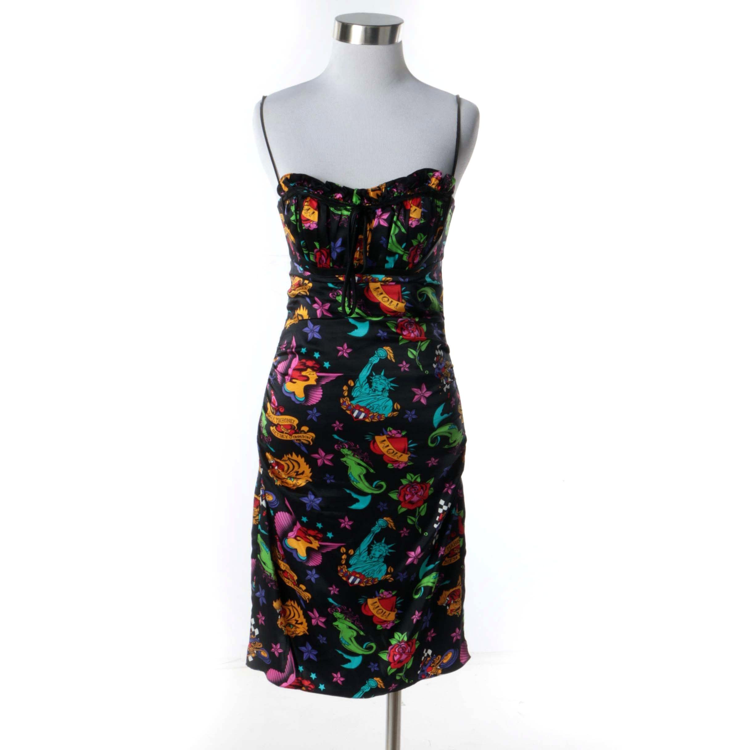Mark Mahoney for Betsey Johnson Silk Tattoo Print Sleeveless Cocktail Dress