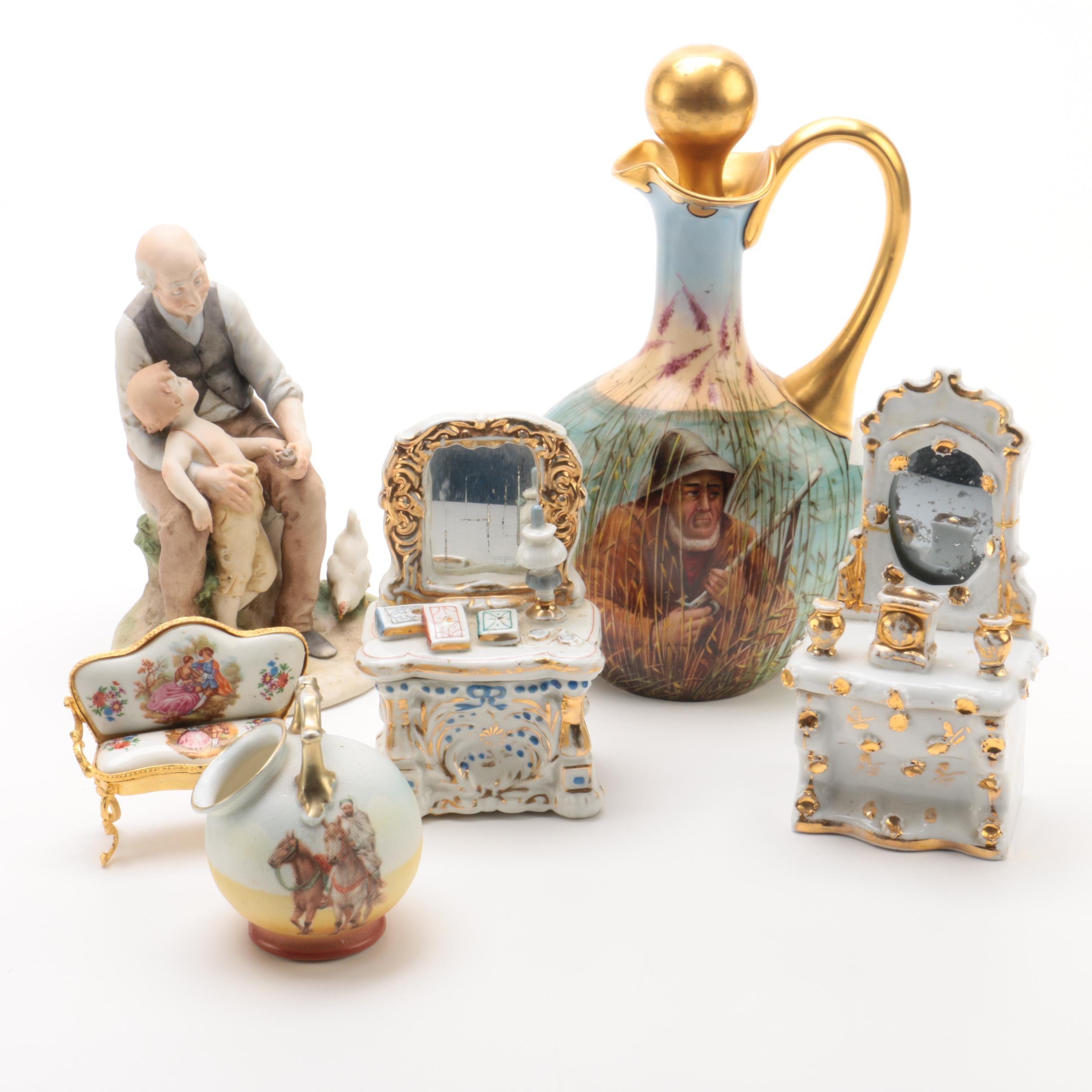 Klingenberg & Dwenger French Porcelain Pitcher and Other Decor