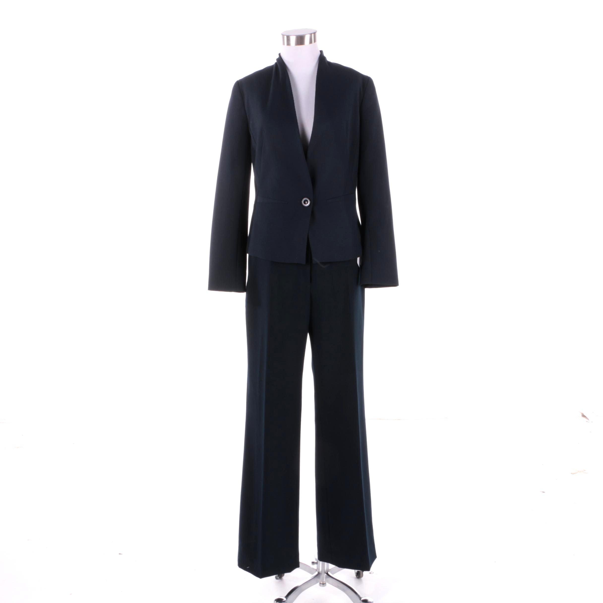 Femme Navy Blue Wool Blend Pantsuit
