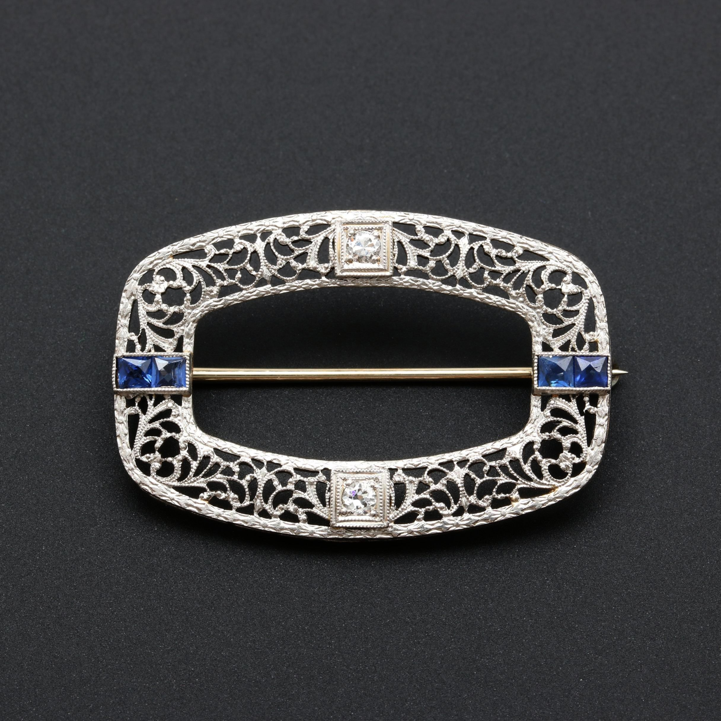 Edwardian Platinum and 14K White Gold Diamond and Blue Sapphire Brooch