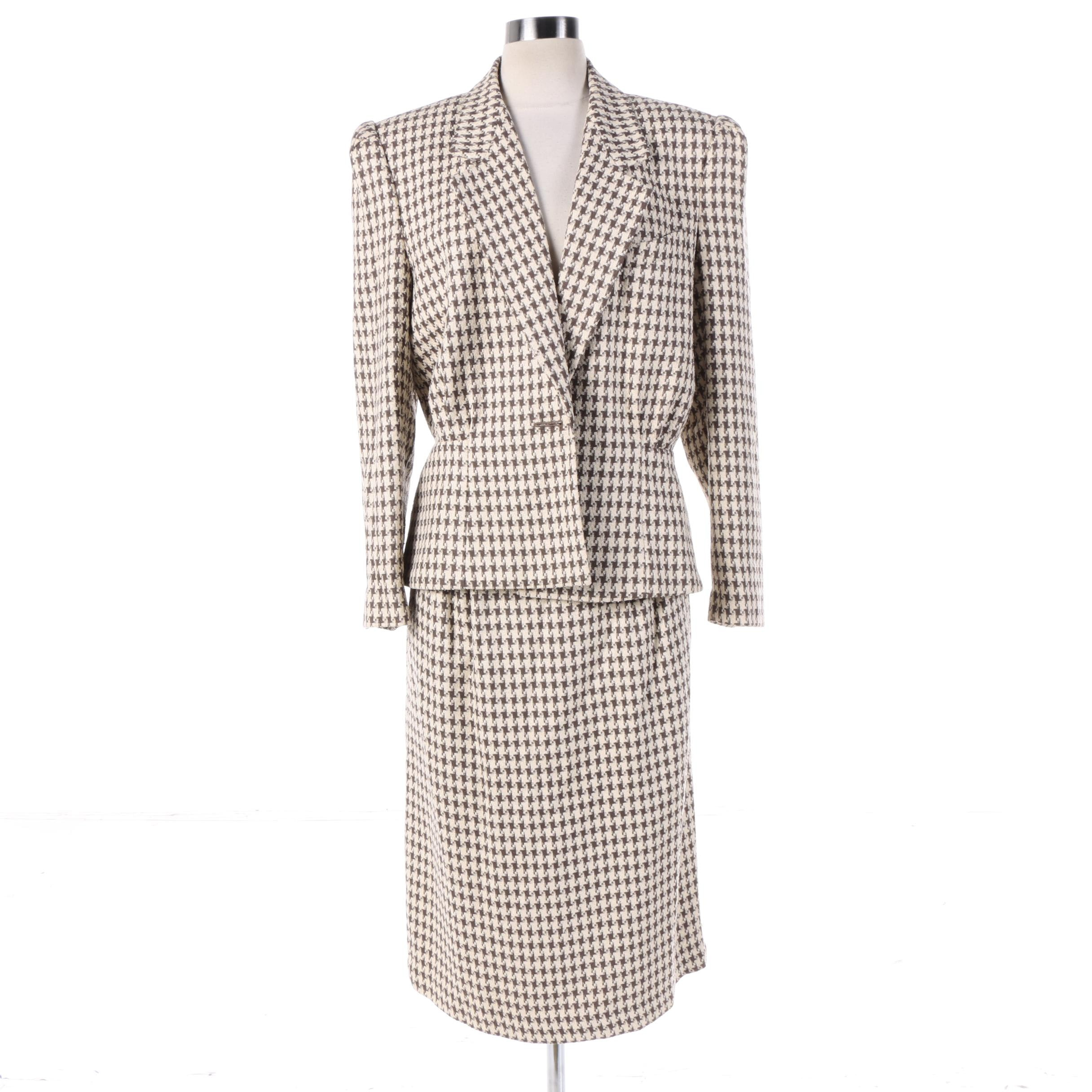 Women's East Eighties Cream and Brown Houndstooth Silk Blend Skirt Suit