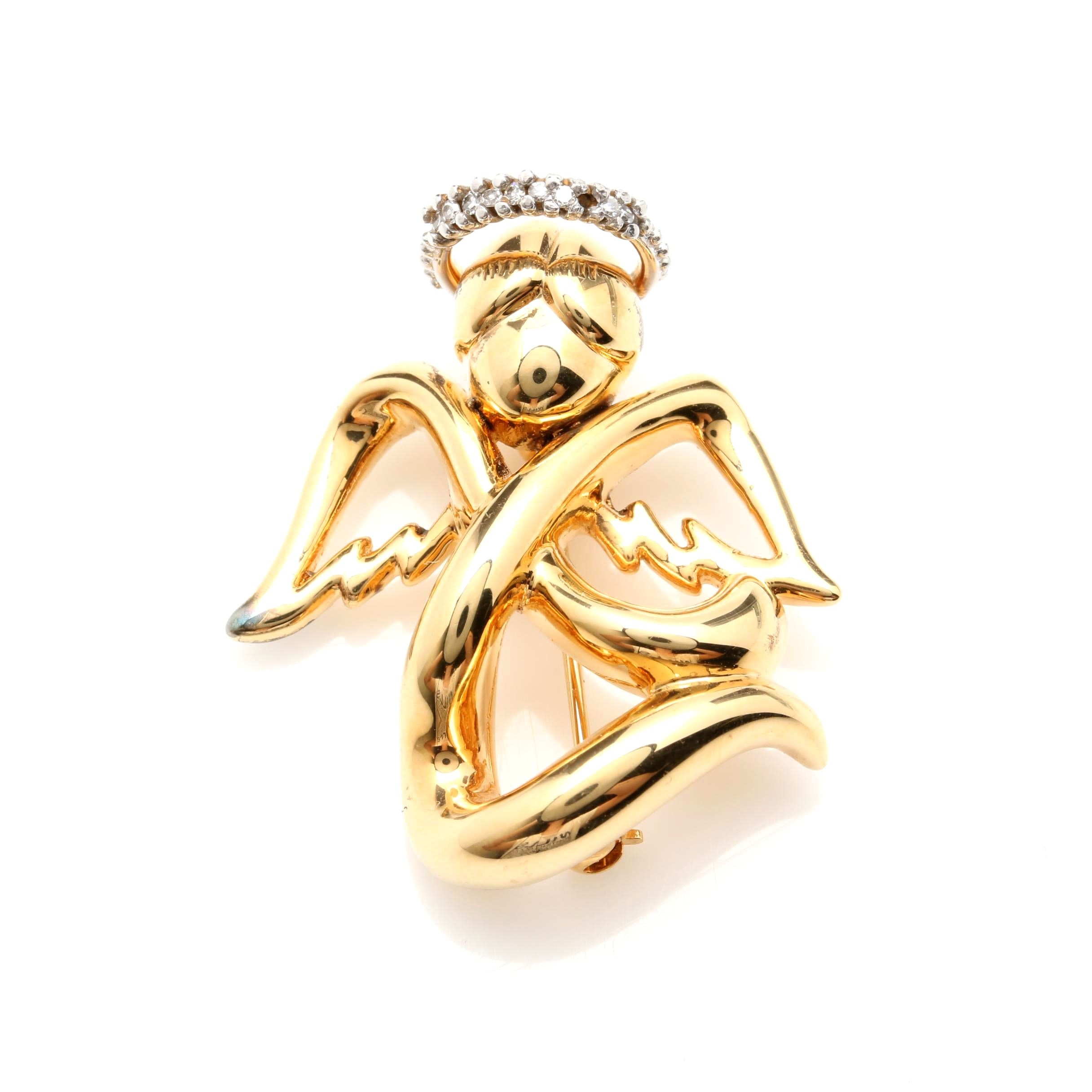 14K Yellow Gold Diamond Angel Brooch