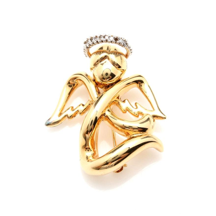 5ef2b744f53 14K Yellow Gold Diamond Angel Brooch : EBTH