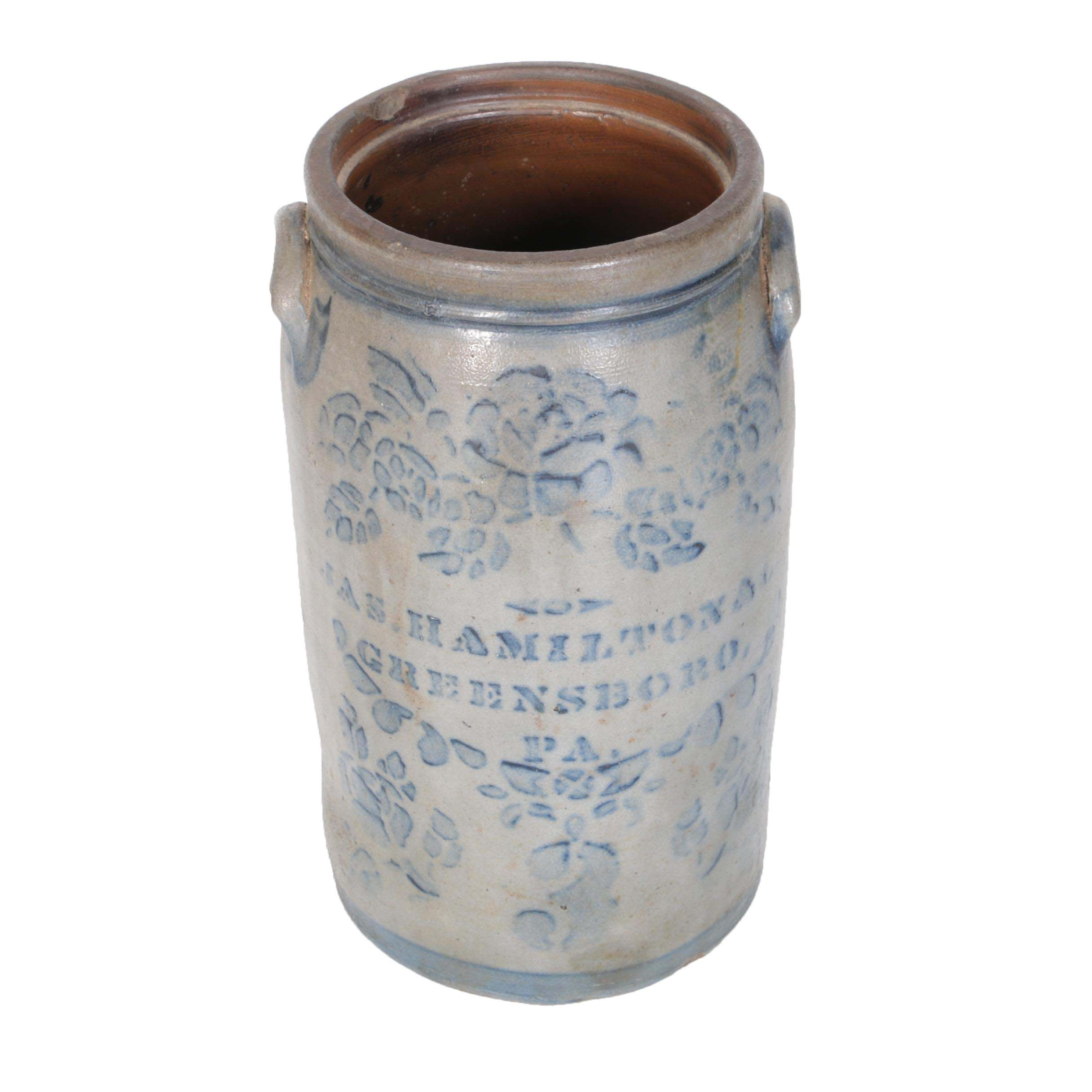 James Hamilton & Co. Stoneware Crock, Greensboro, Pennsylvania