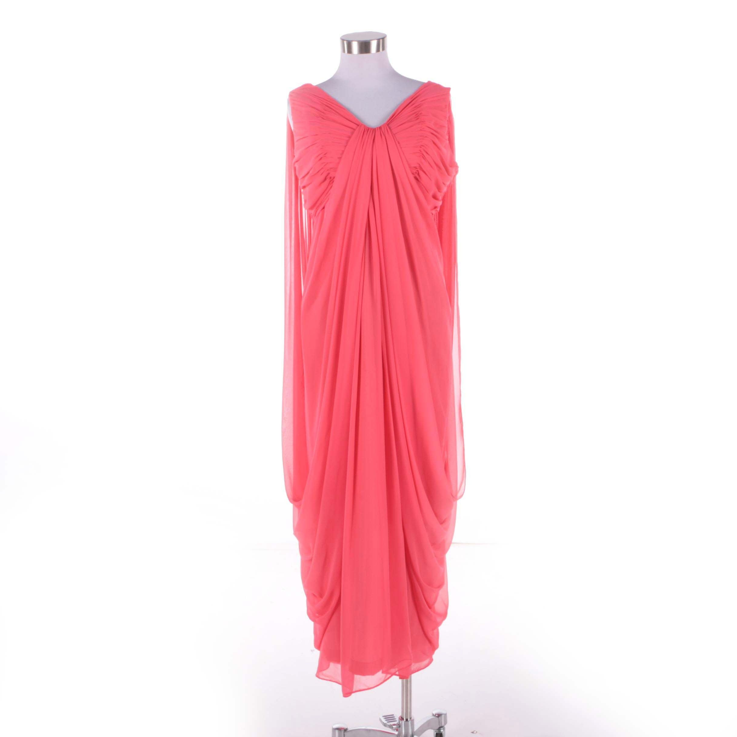 1970s Vintage Victor Costa Coral Grecian Draped Chiffon Sleeveless Evening Dress