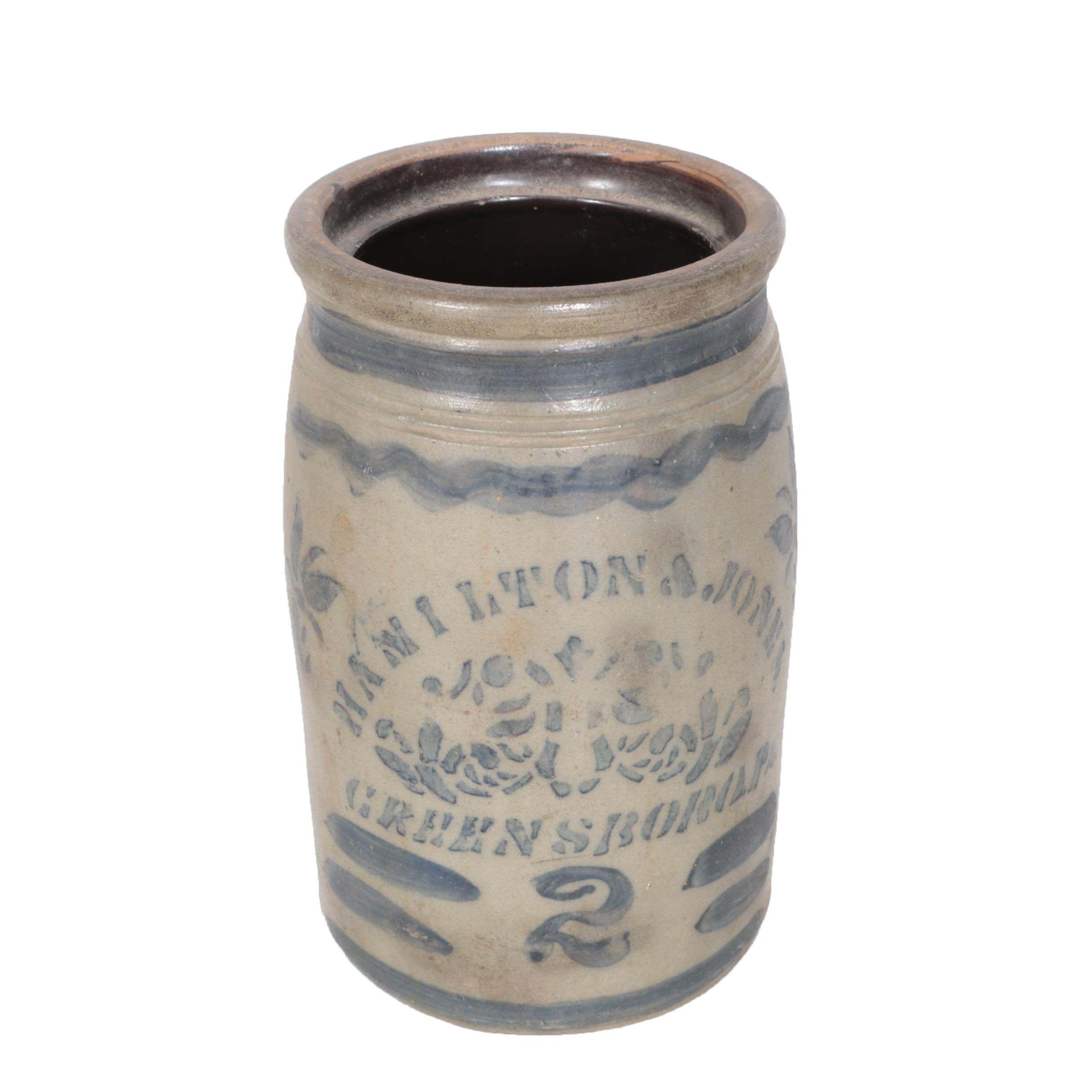 Hamilton & Jones 2-Gallon Stoneware Crock, Greensboro, Pennsylvania