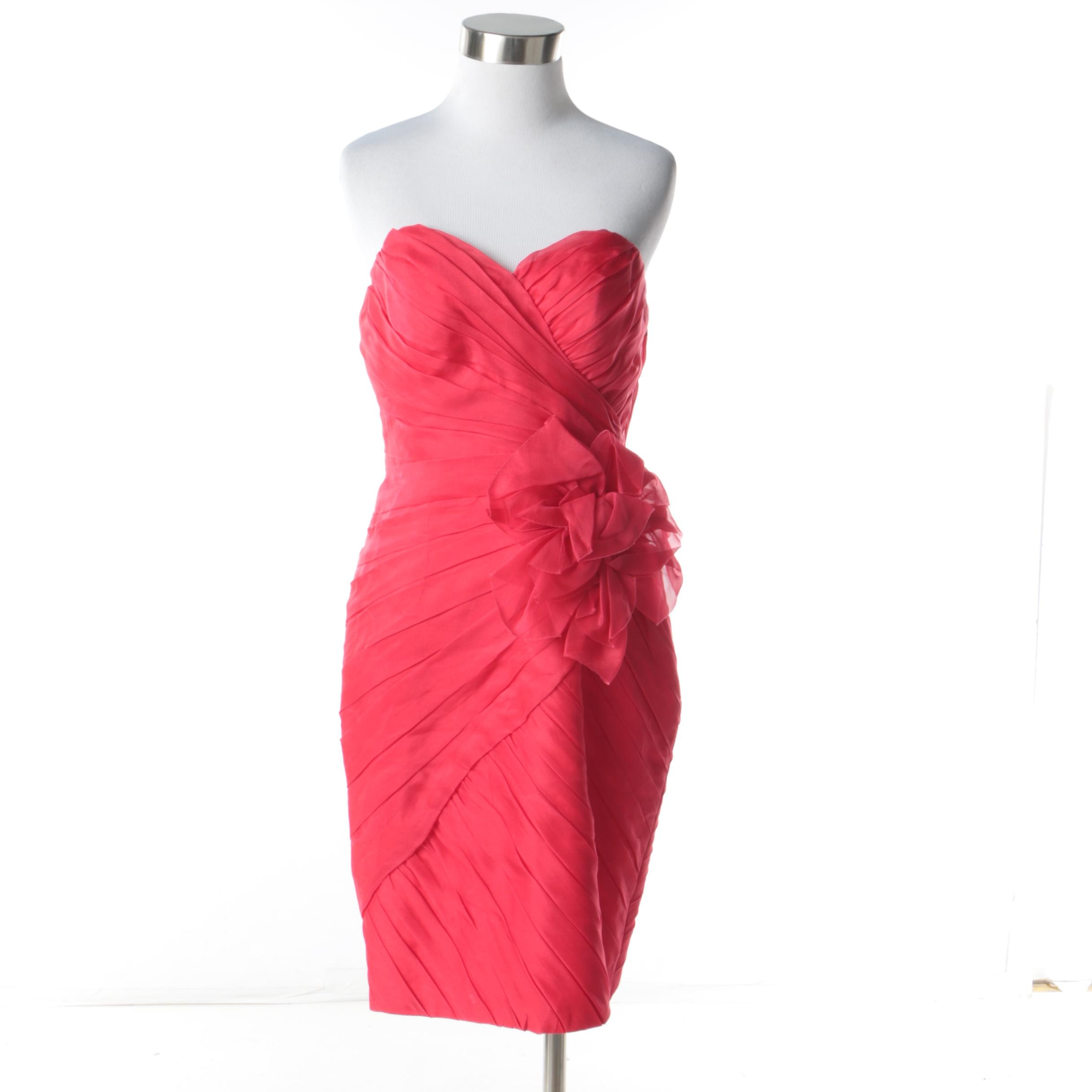 Theia Red Silk Strapless Pleat Cocktail Dress with Floral Detail