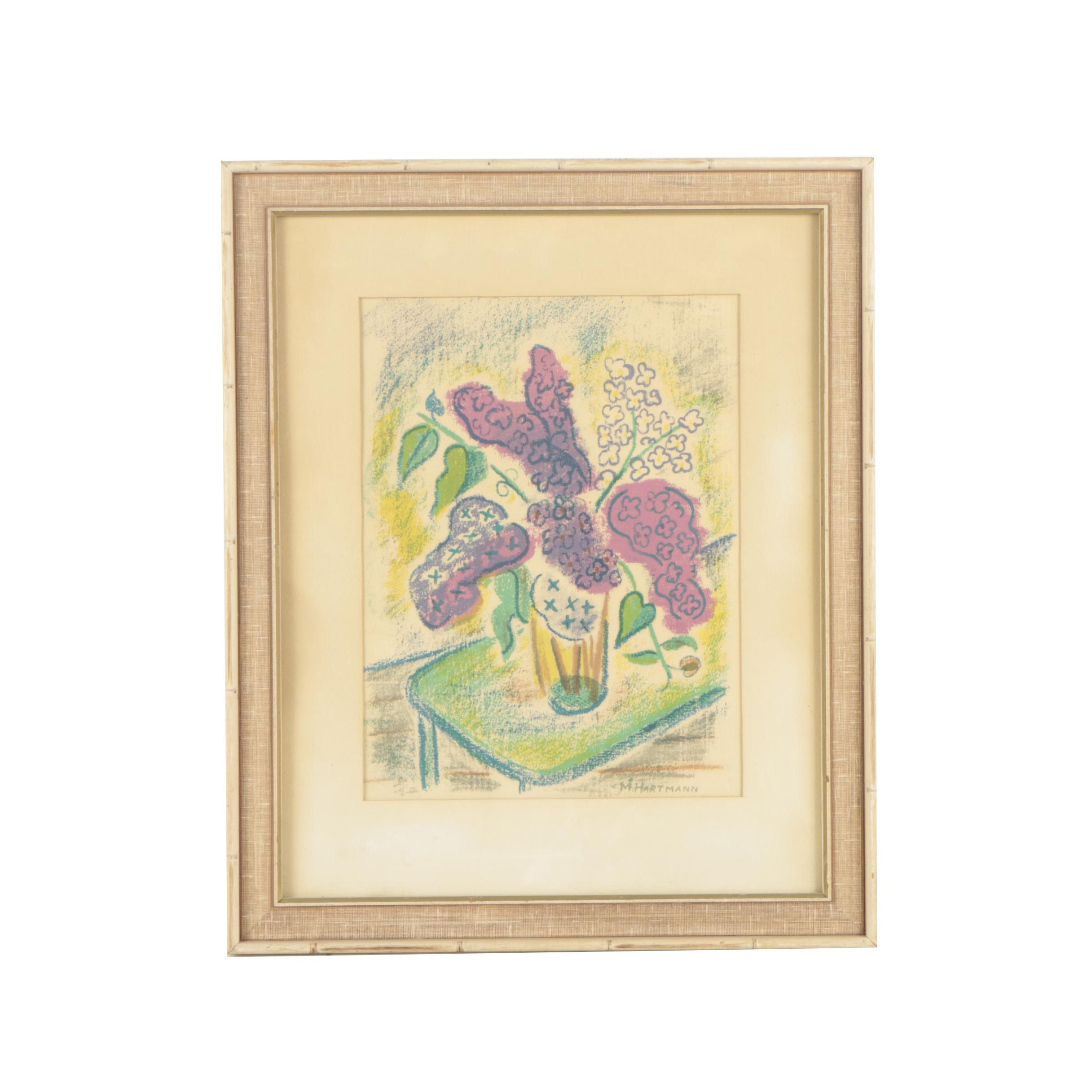 "Marjorie Hartmann Serigraph ""Lilacs"""