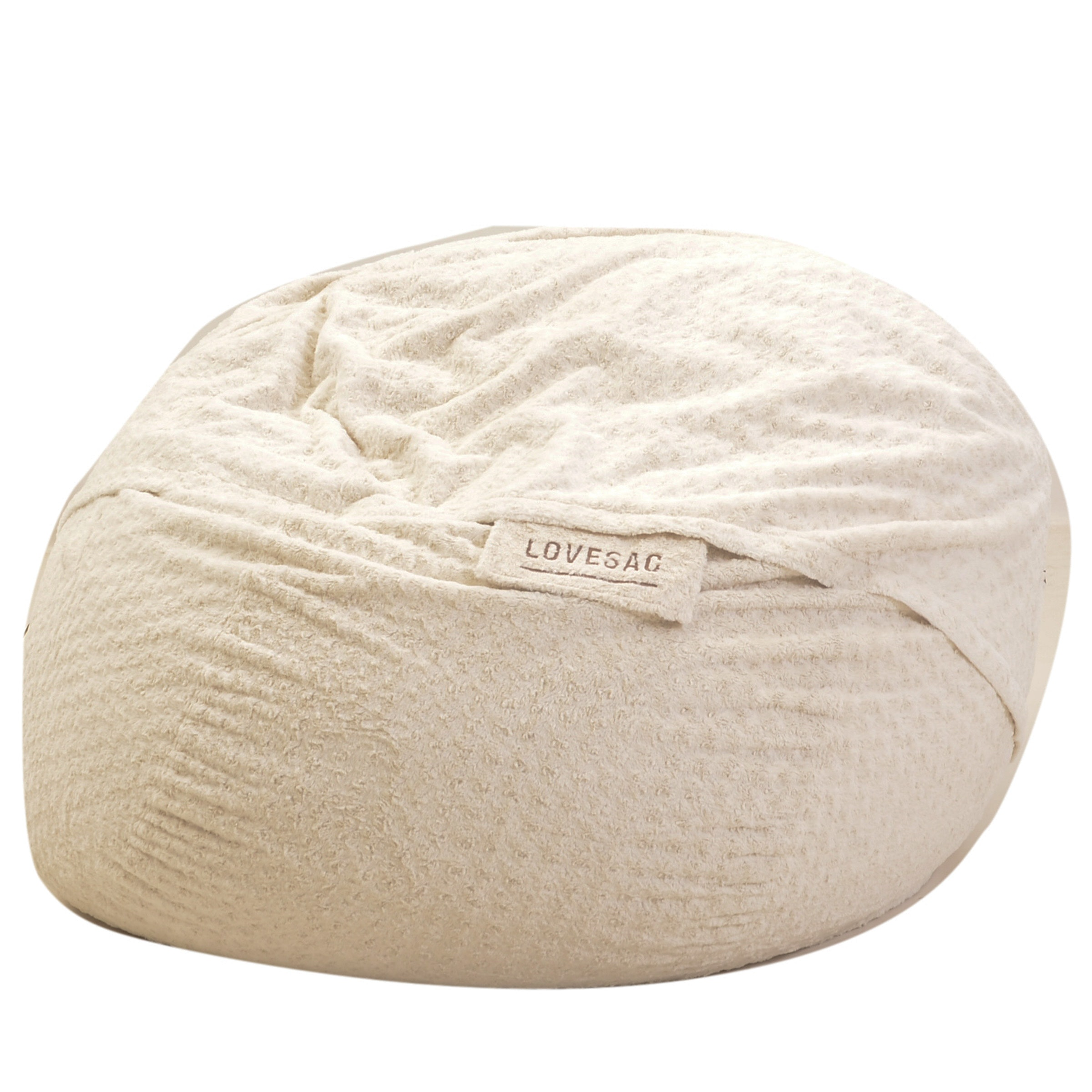 Large White Faux Fur Beanbag Chair from Lovesac