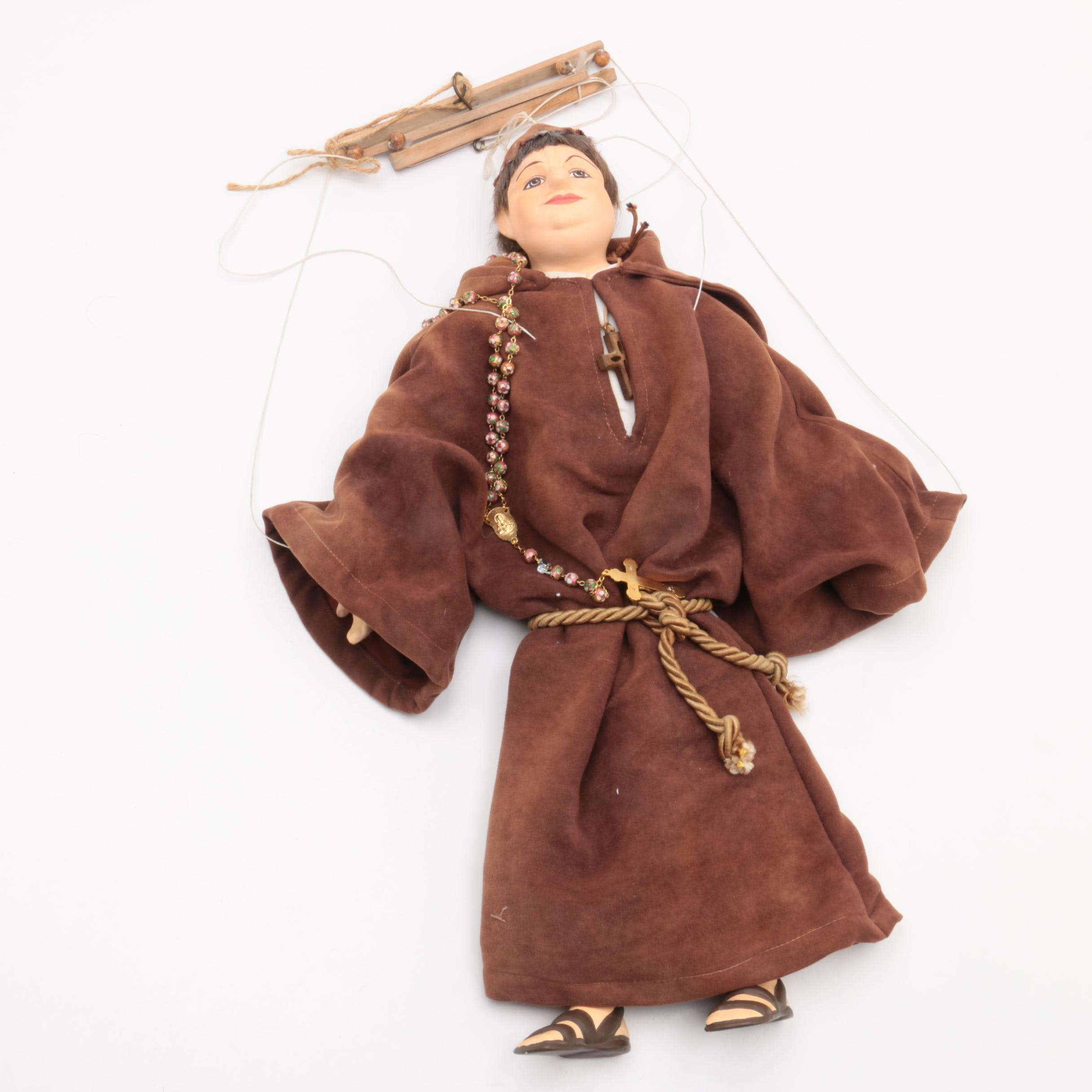 Vintage Hand-Painted Friar Marionette