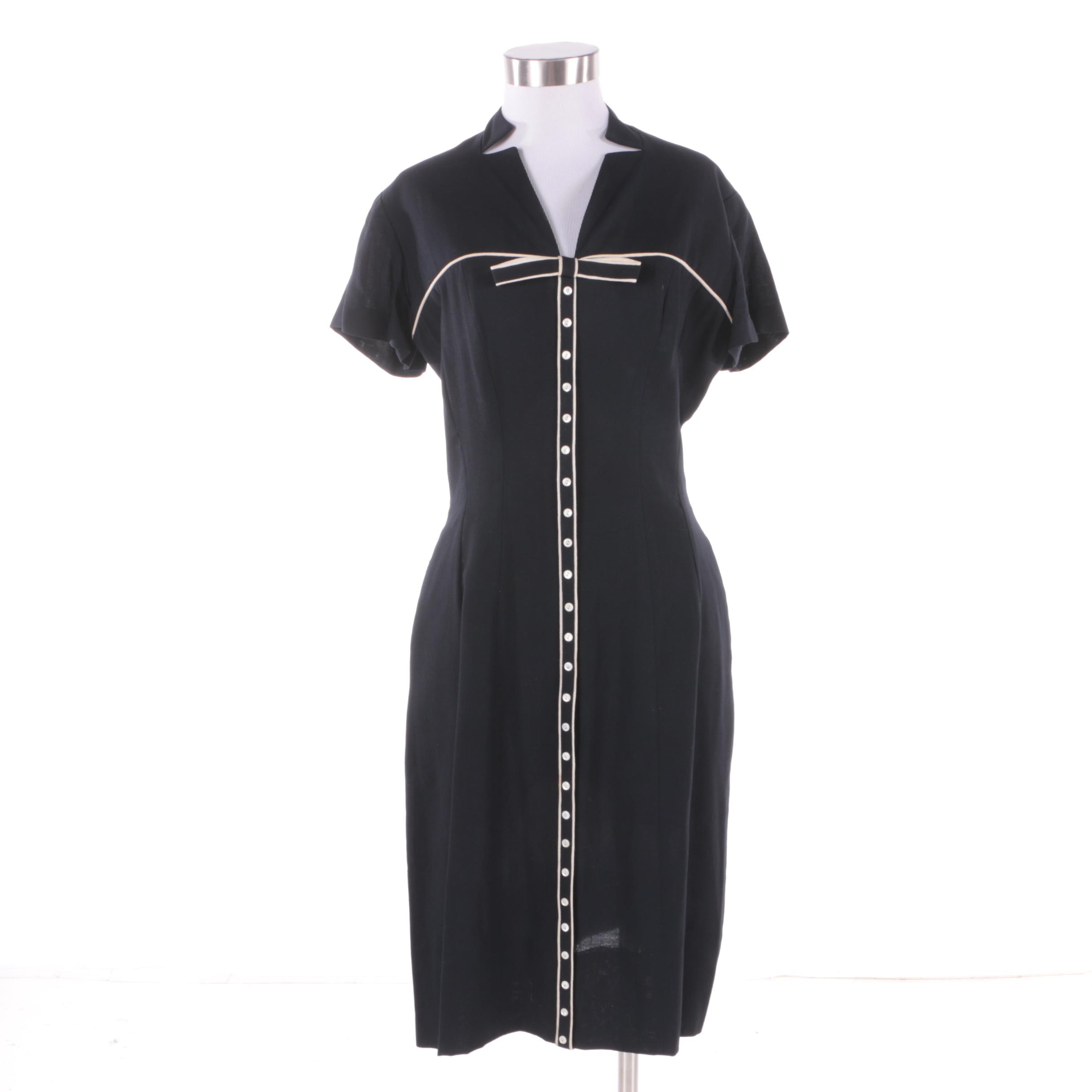 1950s Vintage Samuel Grossman Black with White Bow Piping Dress