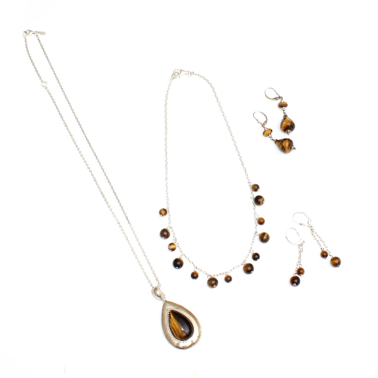 Sterling Silver and Tiger's Eye Necklaces and Dangle Earrings