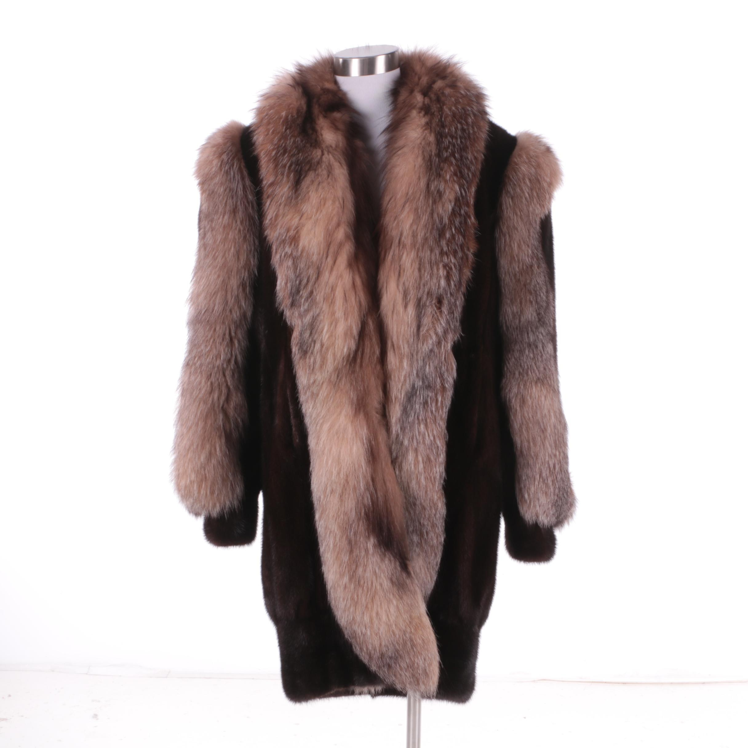 Women's Vintage Dark Mahogany Brown Mink and Crystal Fox Fur Coat