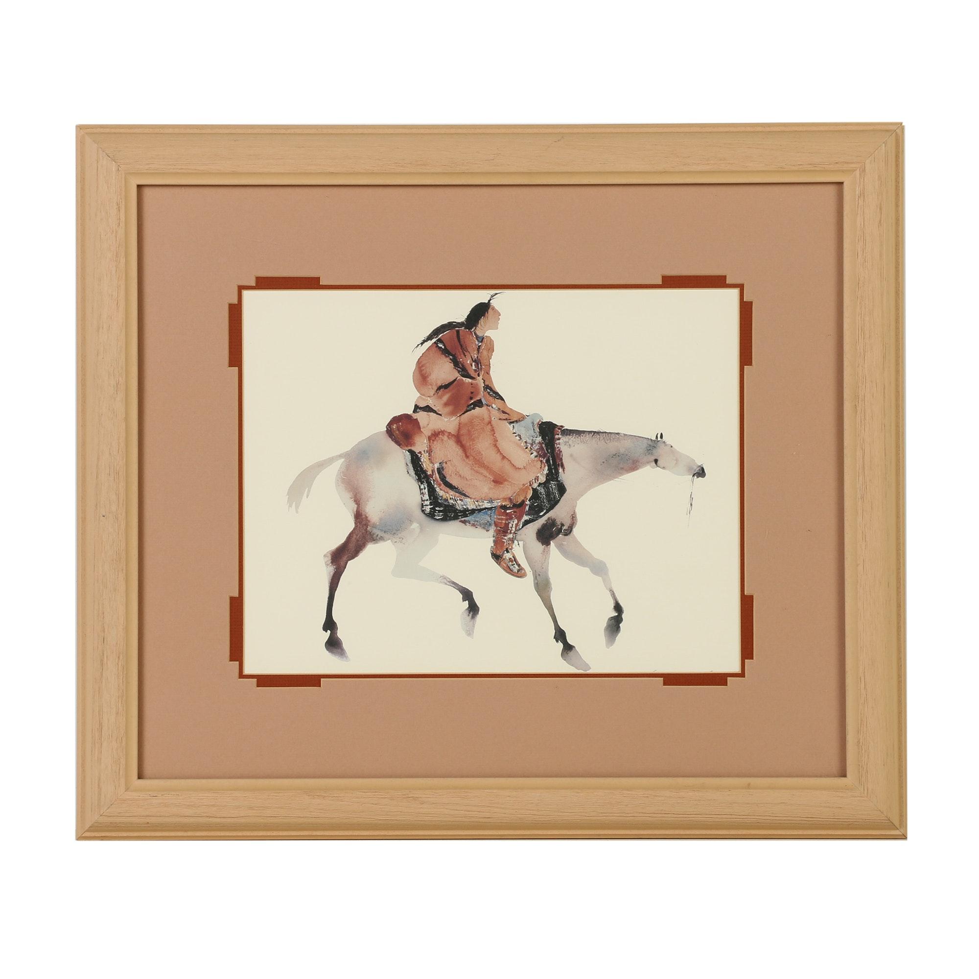 After R.C. Gorman Offset Lithograph Print on Paper Indian on Horseback