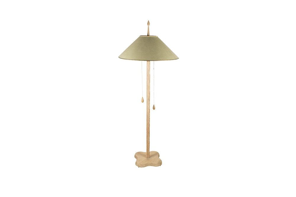 Mid Century Pickled Wood Quaterfoil Floor Lamp
