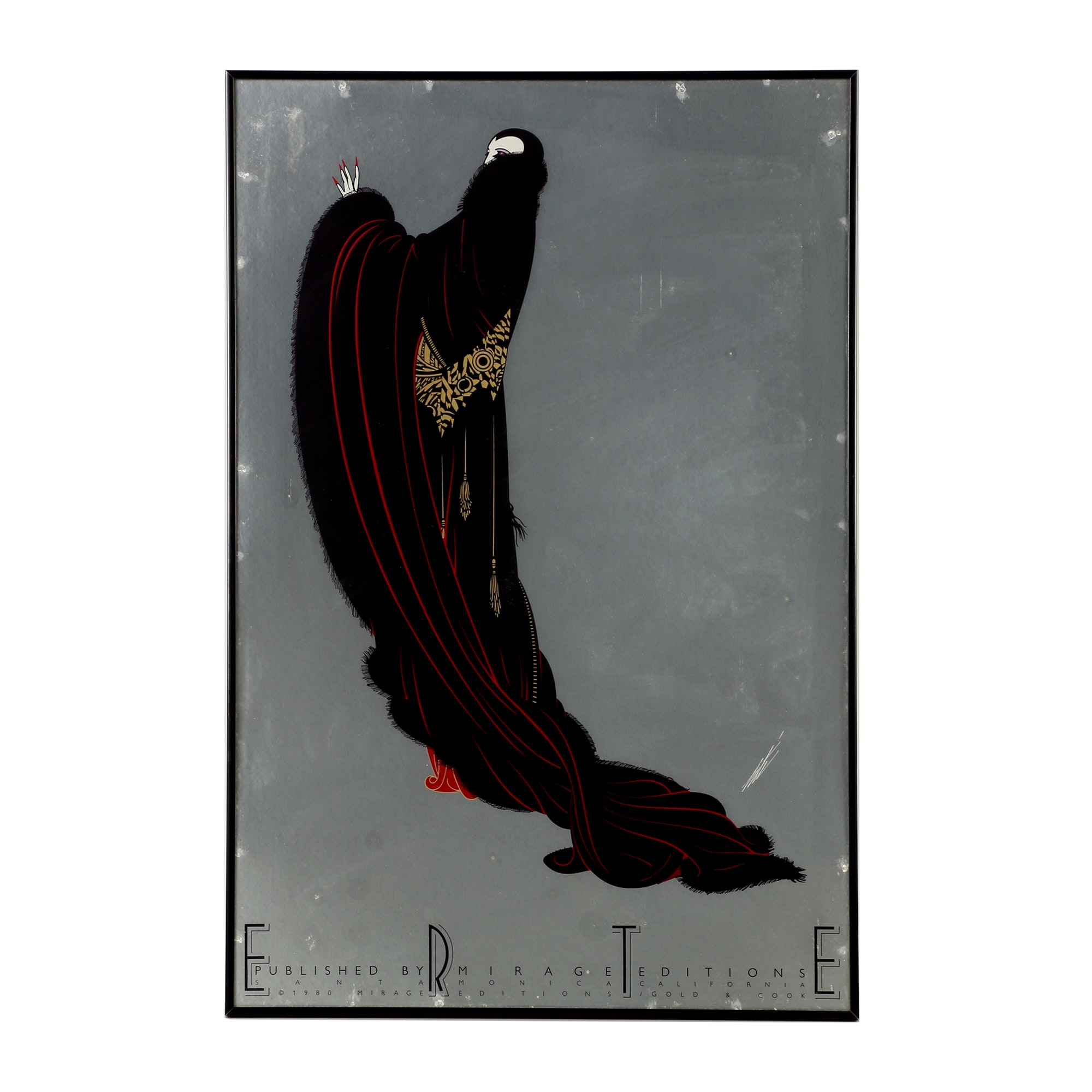 "After Erté Lithograph on Paper ""Soirée"" by Mirage Editions 1980"