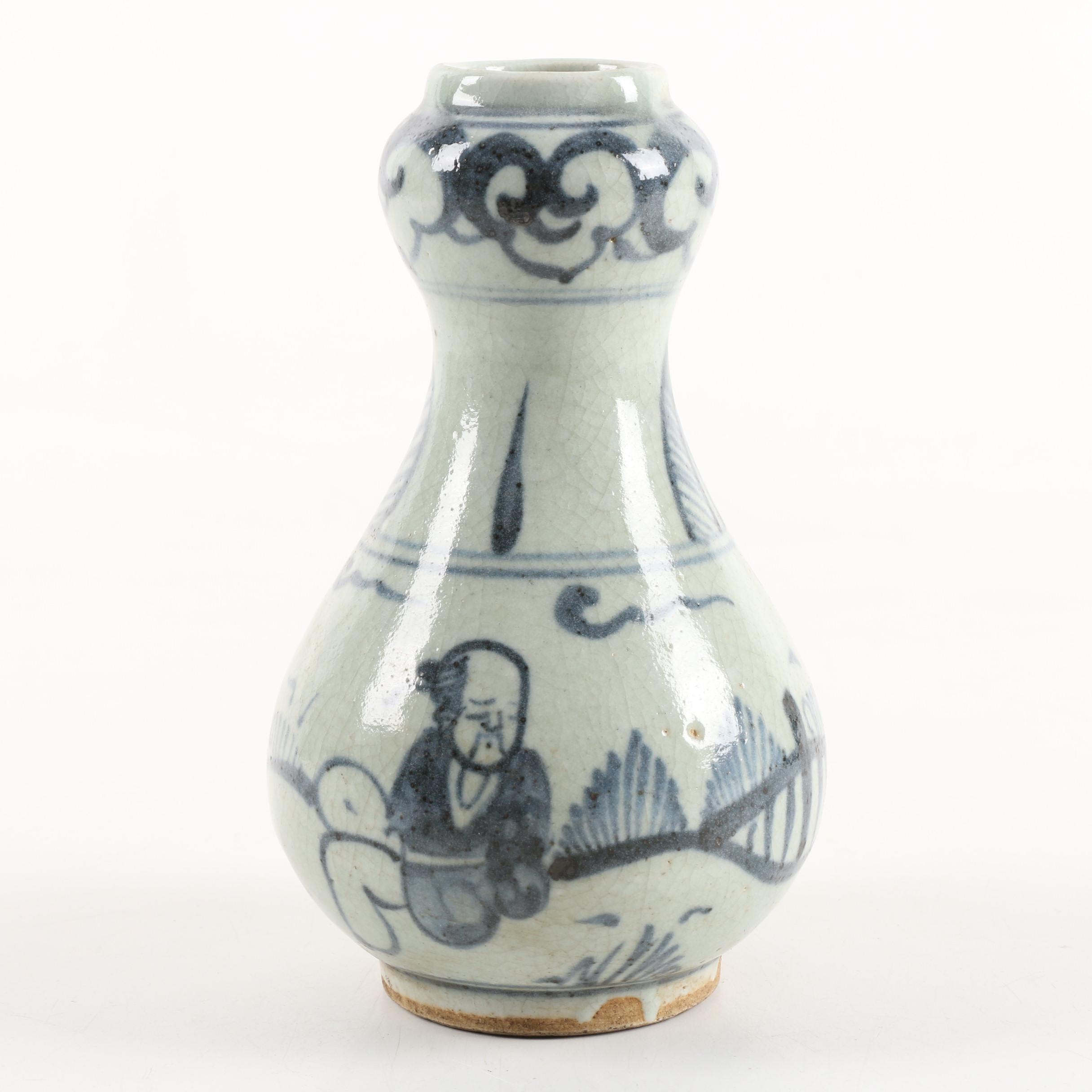 Chinese Hand-Painted Ceramic Bud Vase