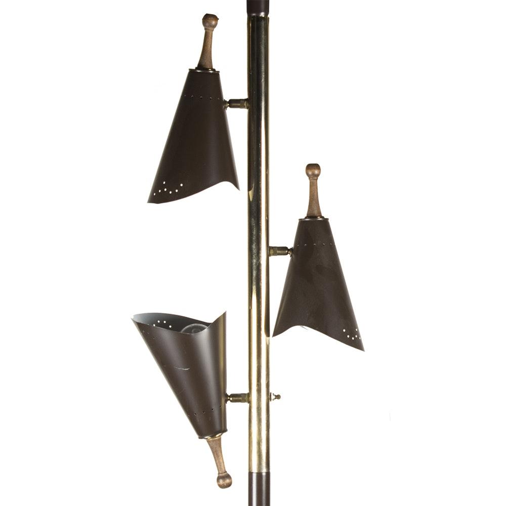 Mid Century Modern Three Arm Floor to Ceiling Tension Lamp