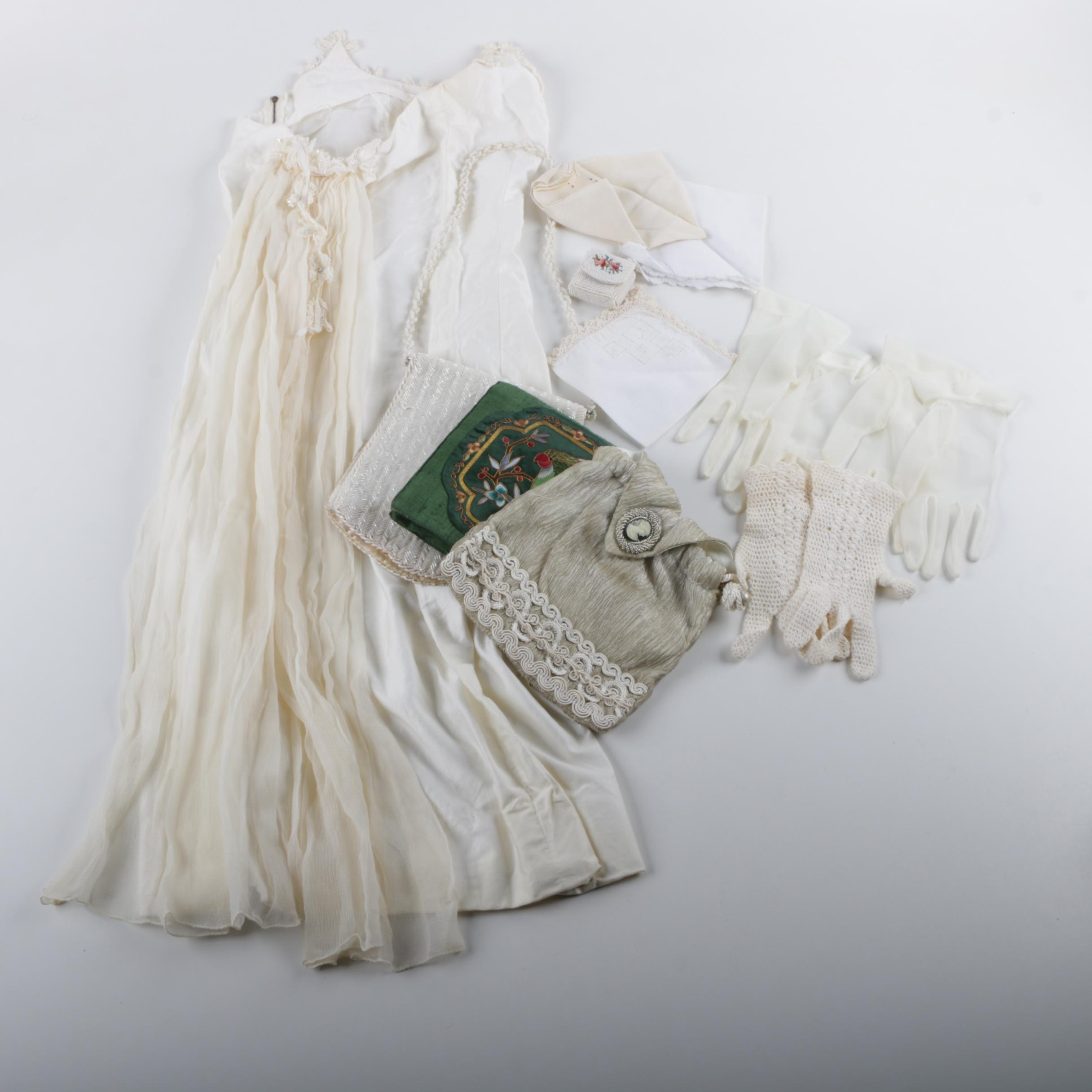 Vintage Slip Dress with Train and Women's Accessories