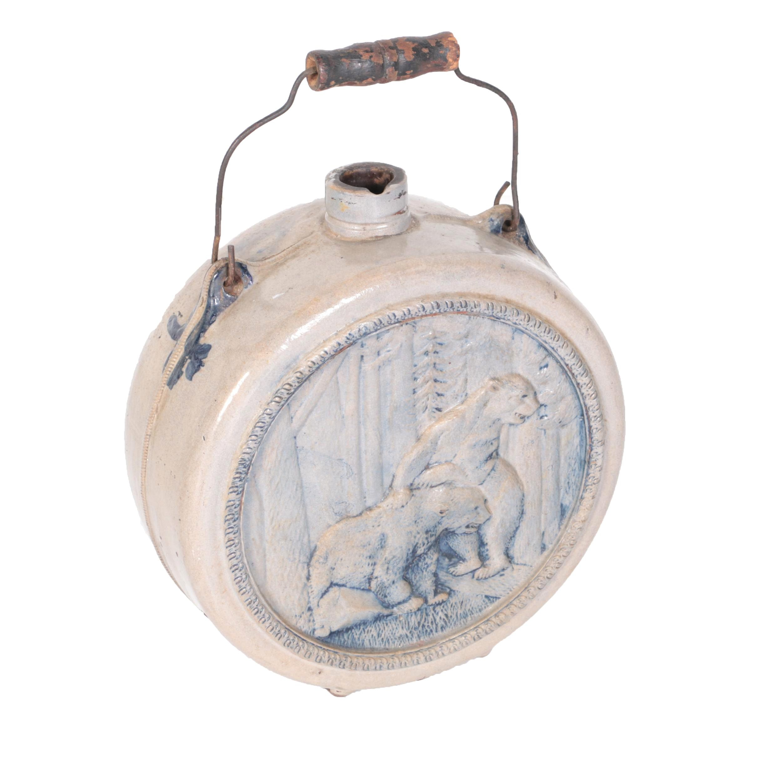 Stoneware Round Jug with Bears Relief, Late 19th-Century