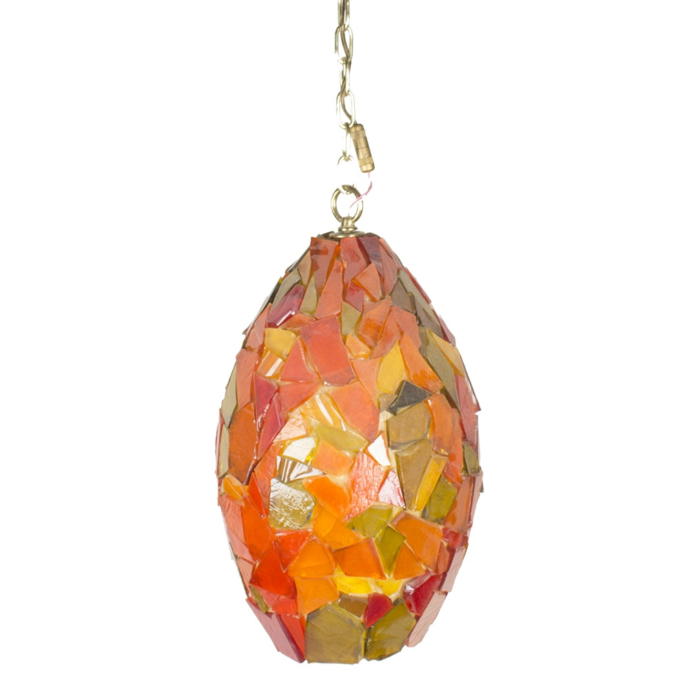 Vintage Mosaic Glass Hanging Pendant Light Fixture