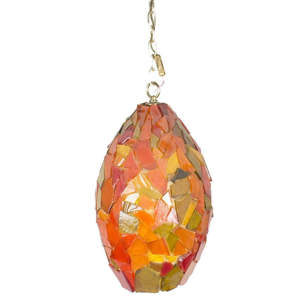 Vintage Mosaic Glass Hanging Pendant Light Fixture