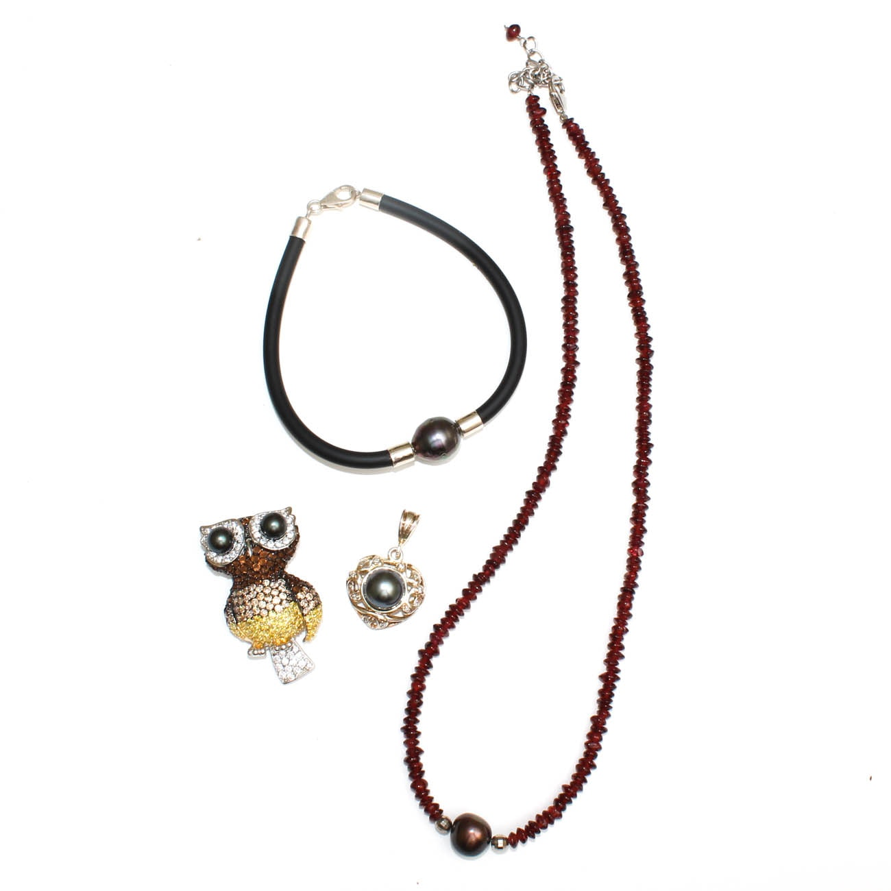 Sterling Silver, Diamond and Cultured Pearl Jewelry