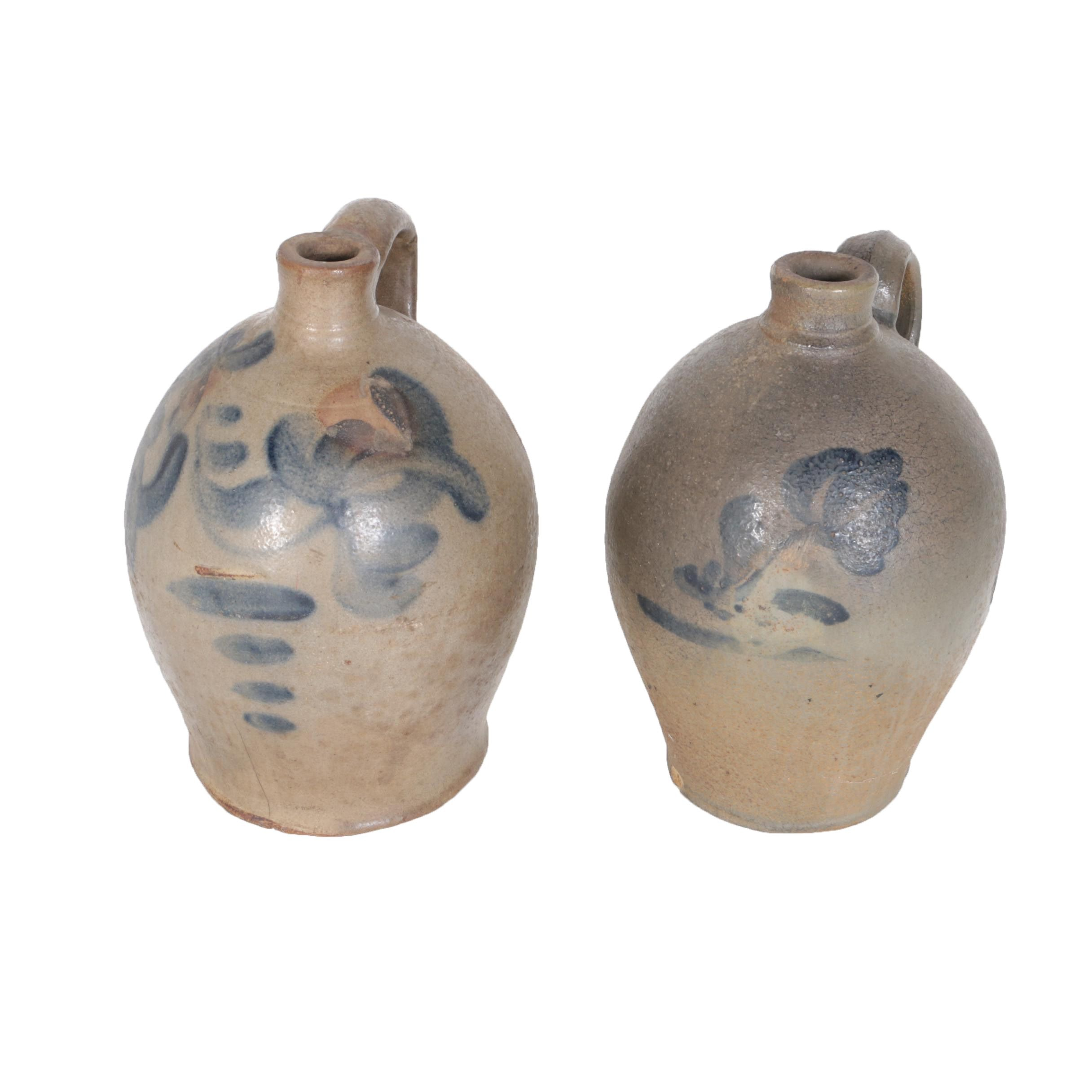 Two Stoneware Crocks with Cobalt Decoration, 19th-Century