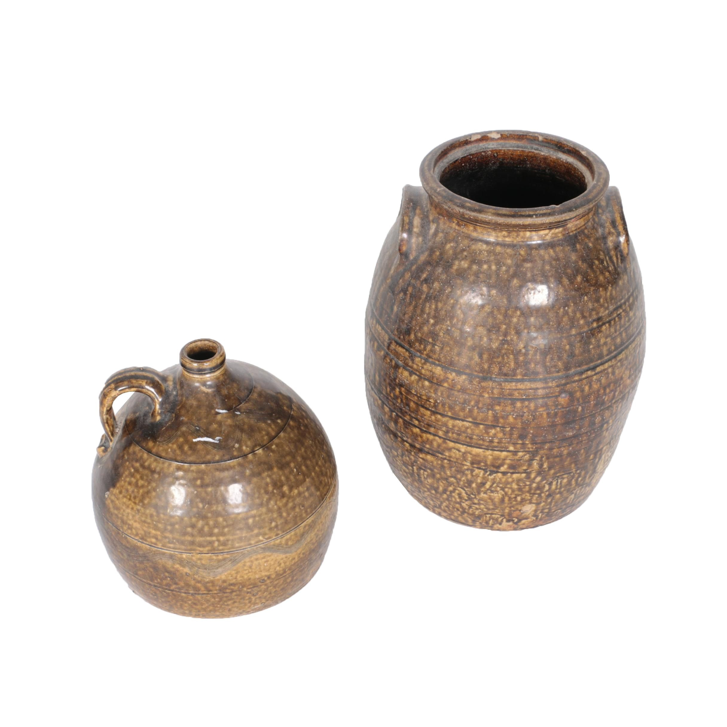 Brown Glazed Stoneware Crock and Jug, Late 19th-Century
