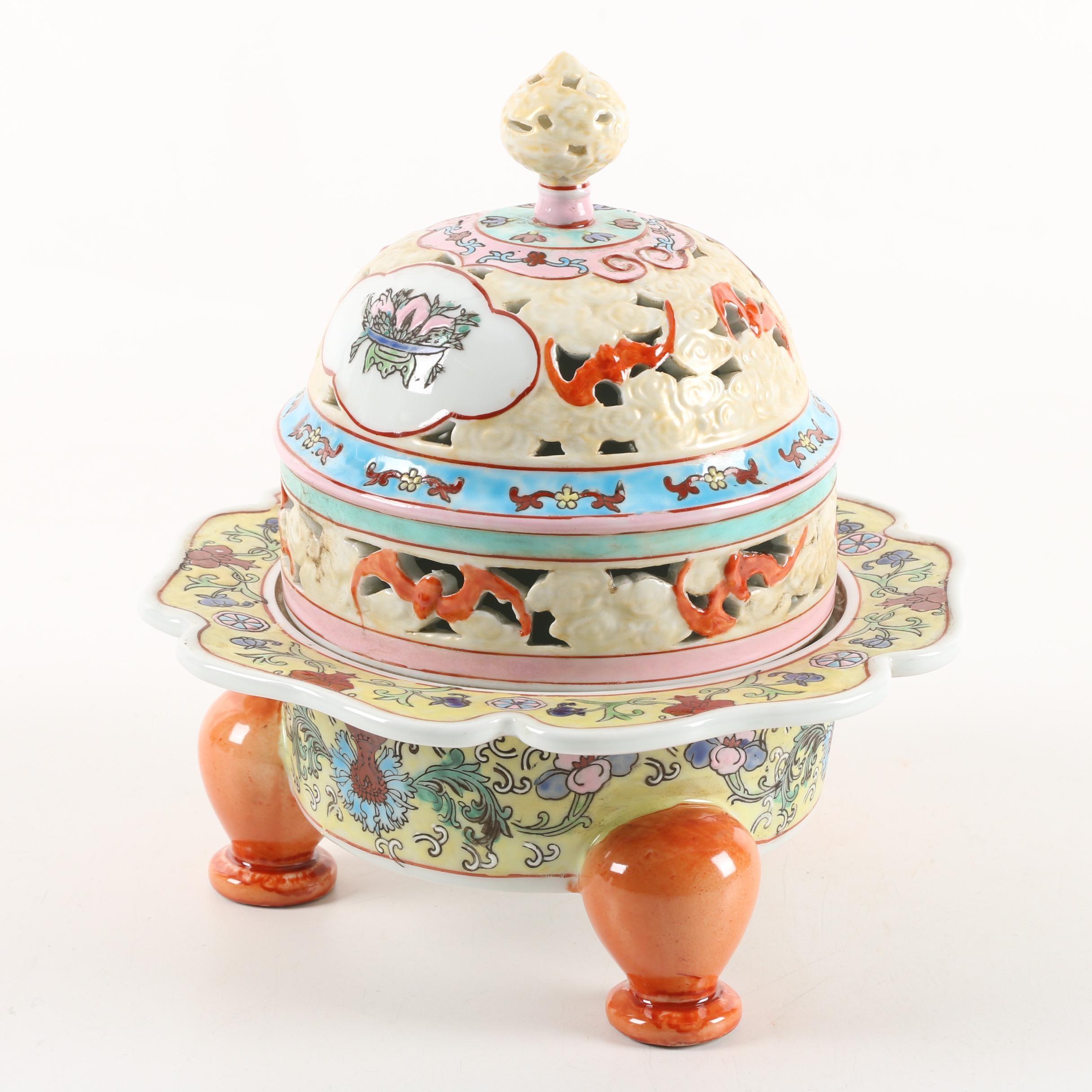 Yellow Ground Chinese Porcelain Tripod Censer