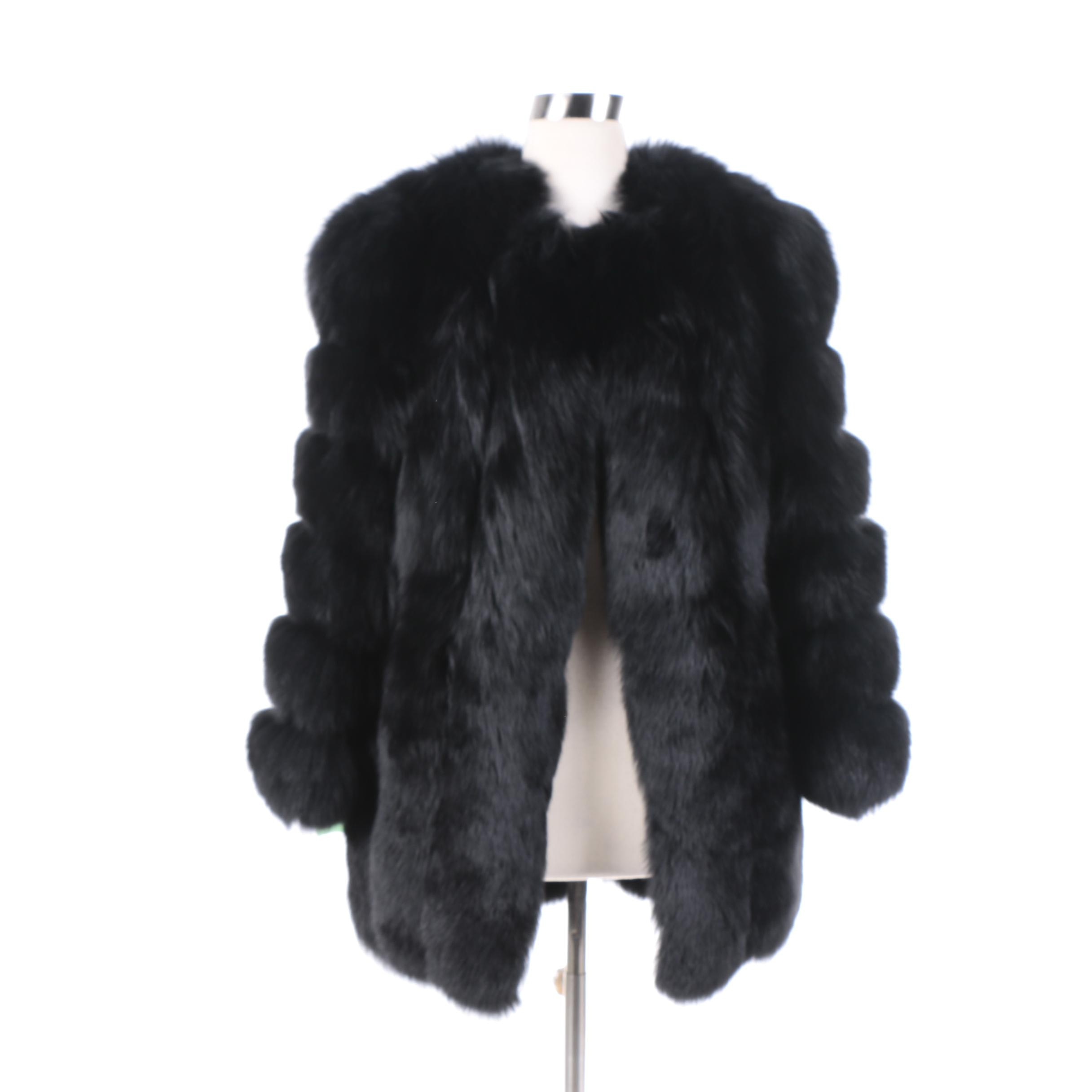Women's Fur Talk Black Fox Fur Coat