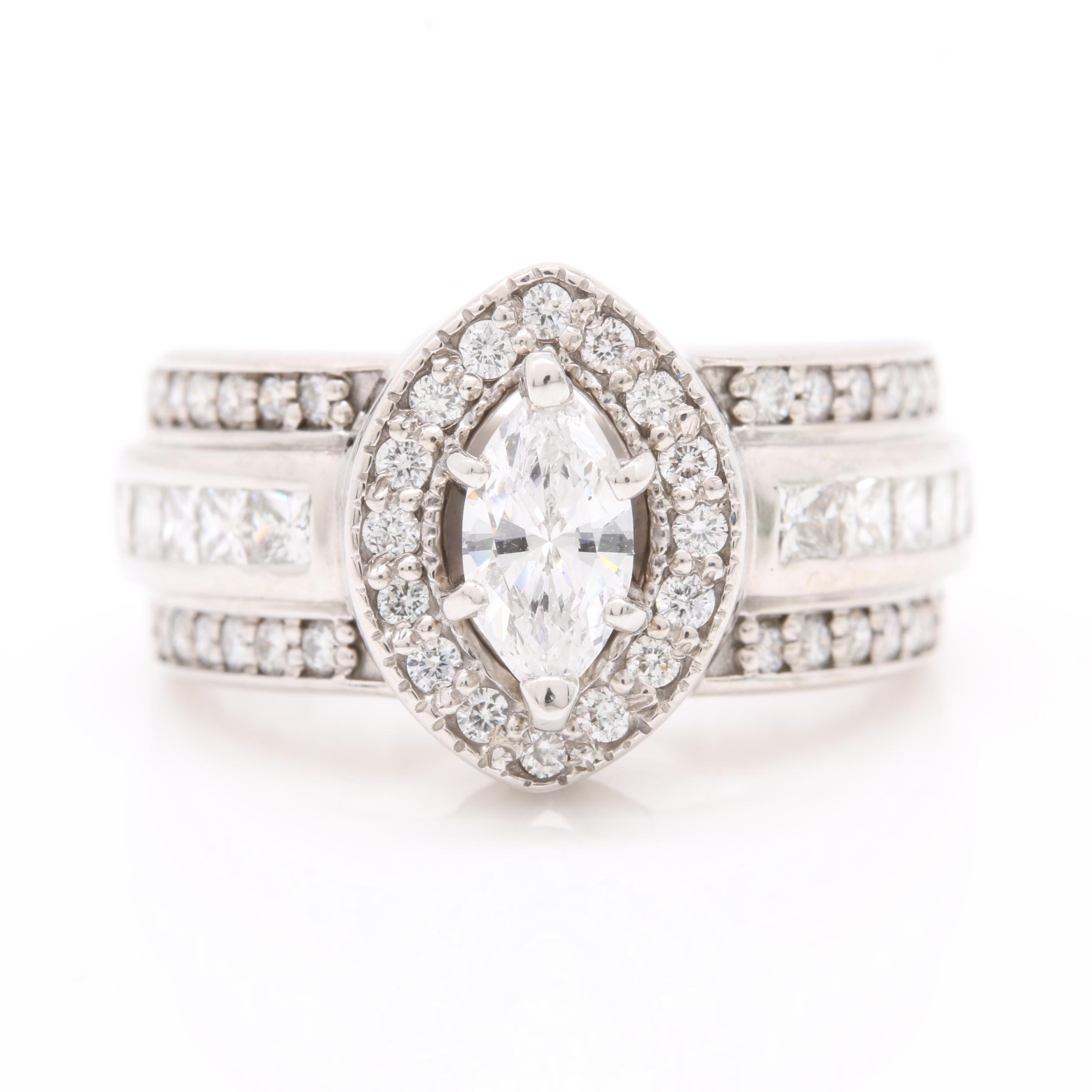 14K White Gold 1.81 CTW Diamond Ring
