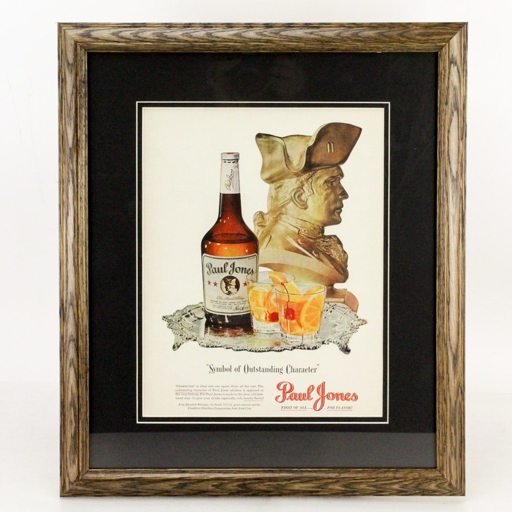 "1942 Framed ""Paul Jones"" Whiskey Advertisement"
