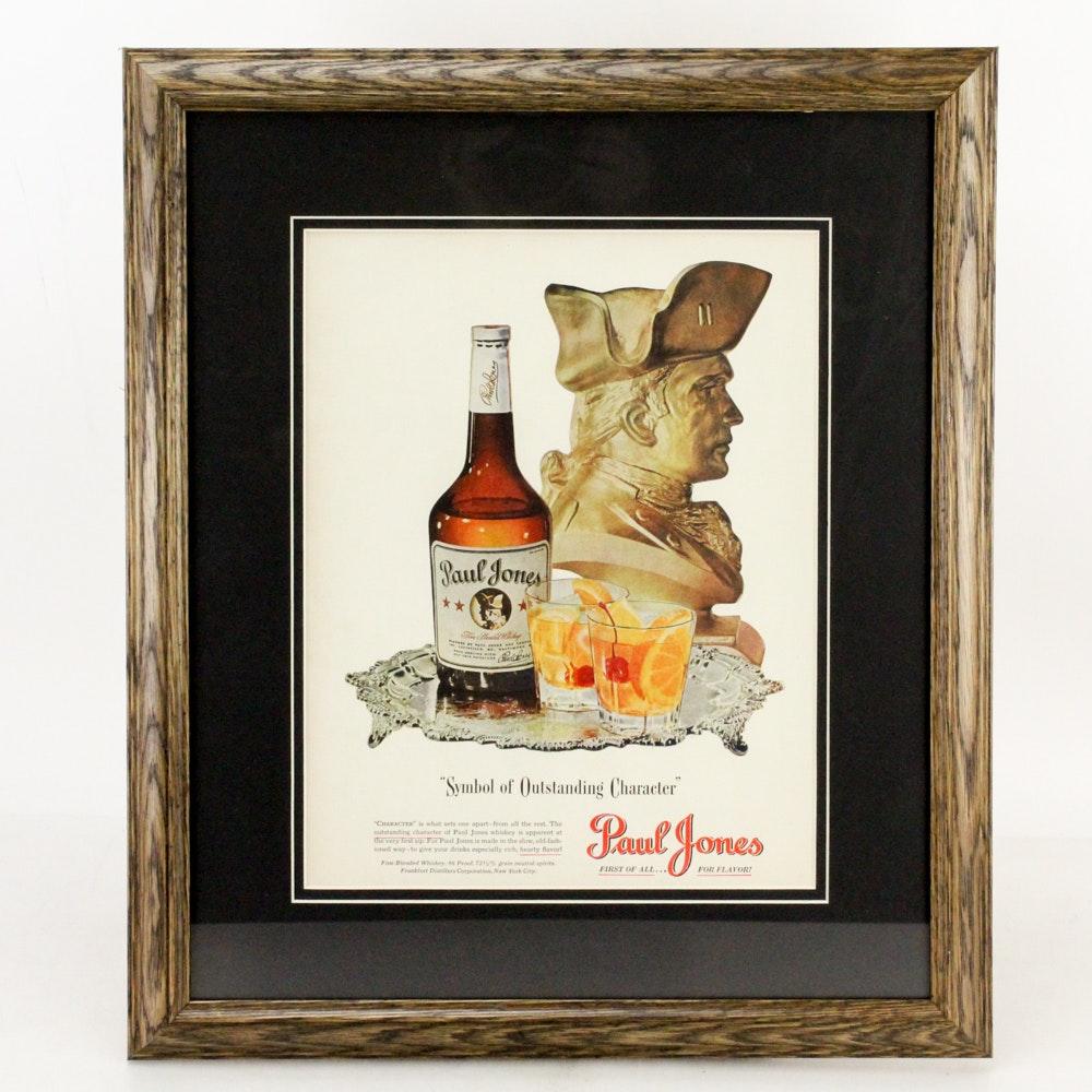 """1942 Framed """"Paul Jones"""" Whiskey Advertisement"""