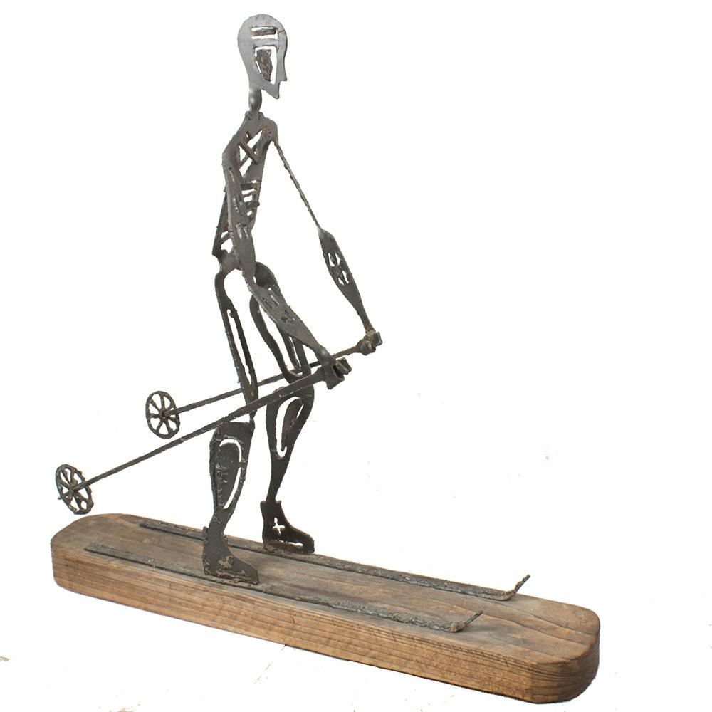 Metal Sculpture of a Skier