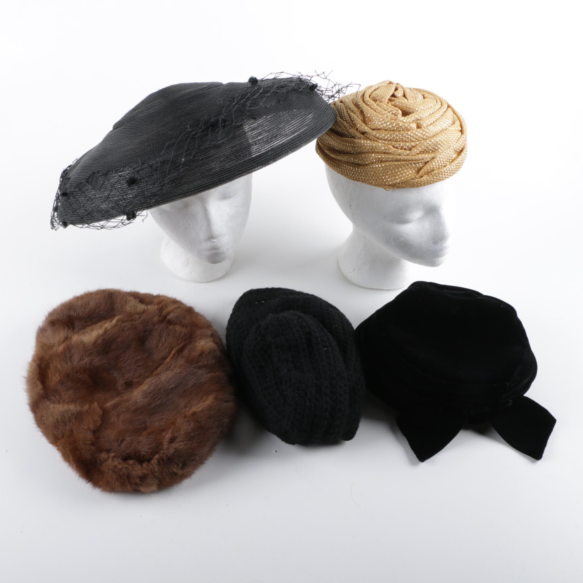 Women's Vintage Hats Including Bee's Bonnet Fur Hat