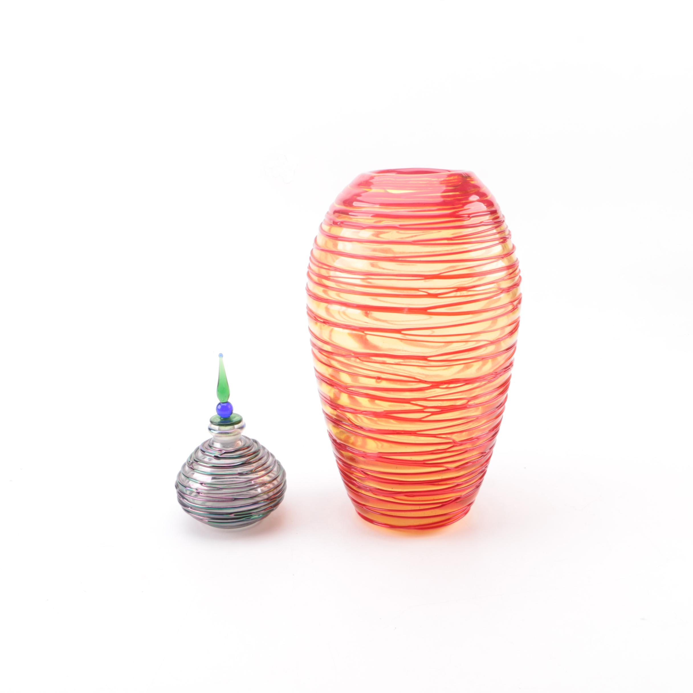 Blown Glass Vase and Perfume Bottle with Applied Ribbing