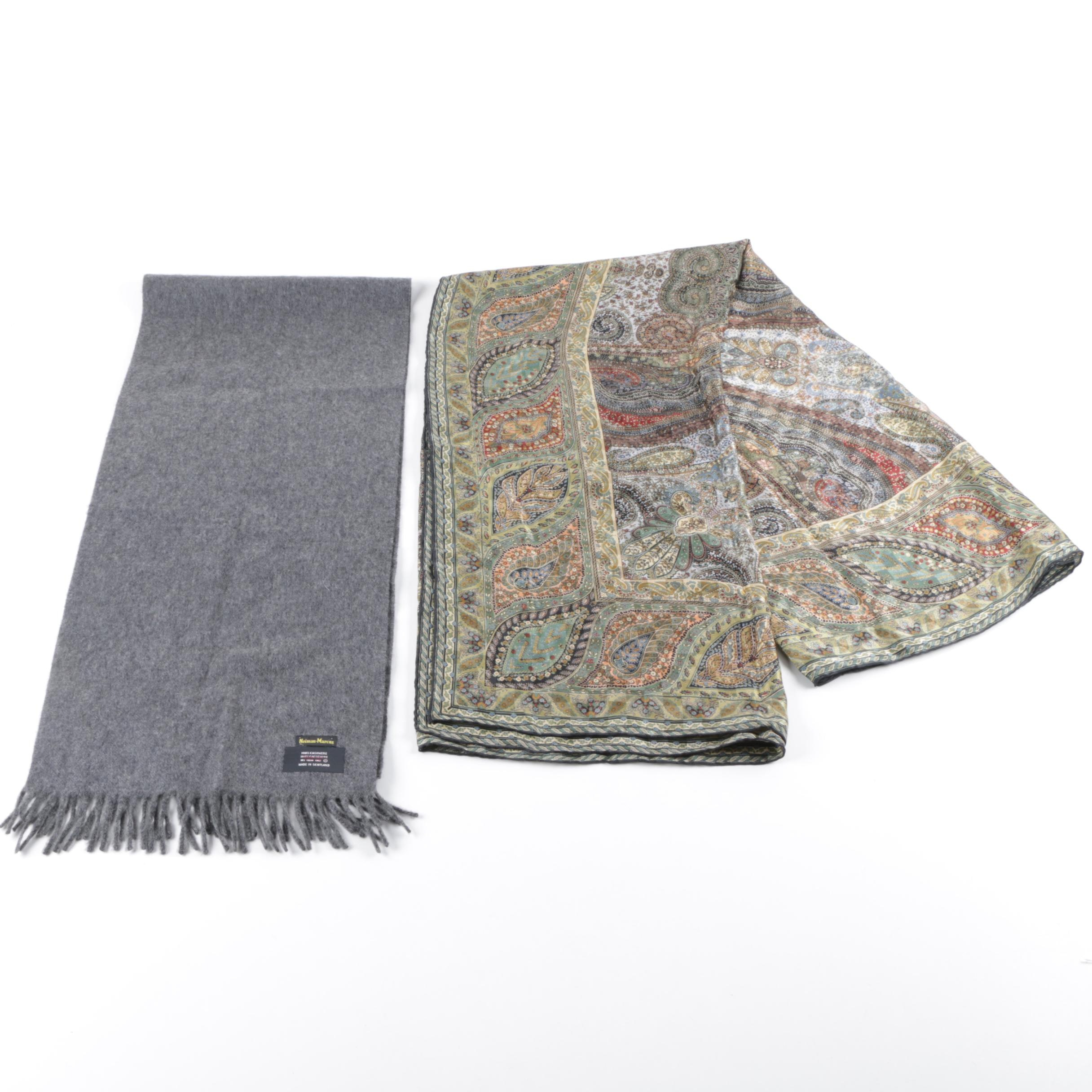 Women's Voghi Silk and Neiman-Marcus Cashmere Scarves