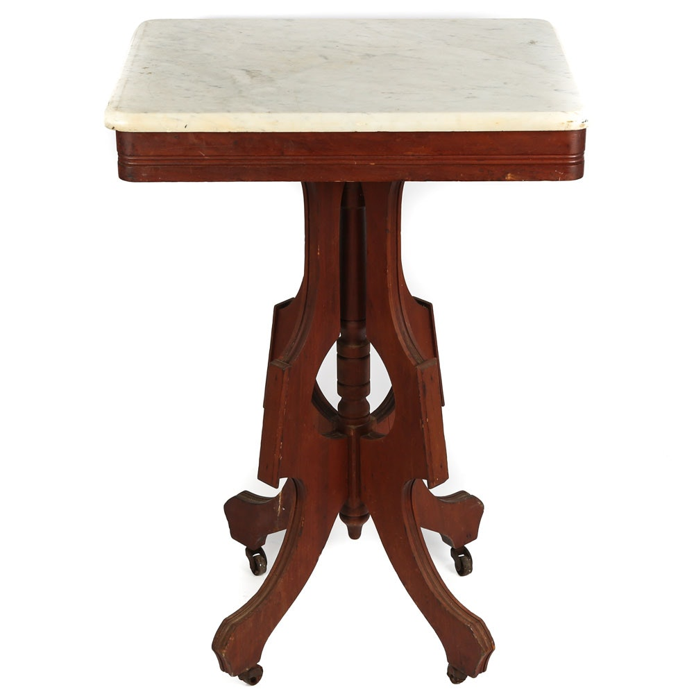 Victorian Marble Top Accent Table